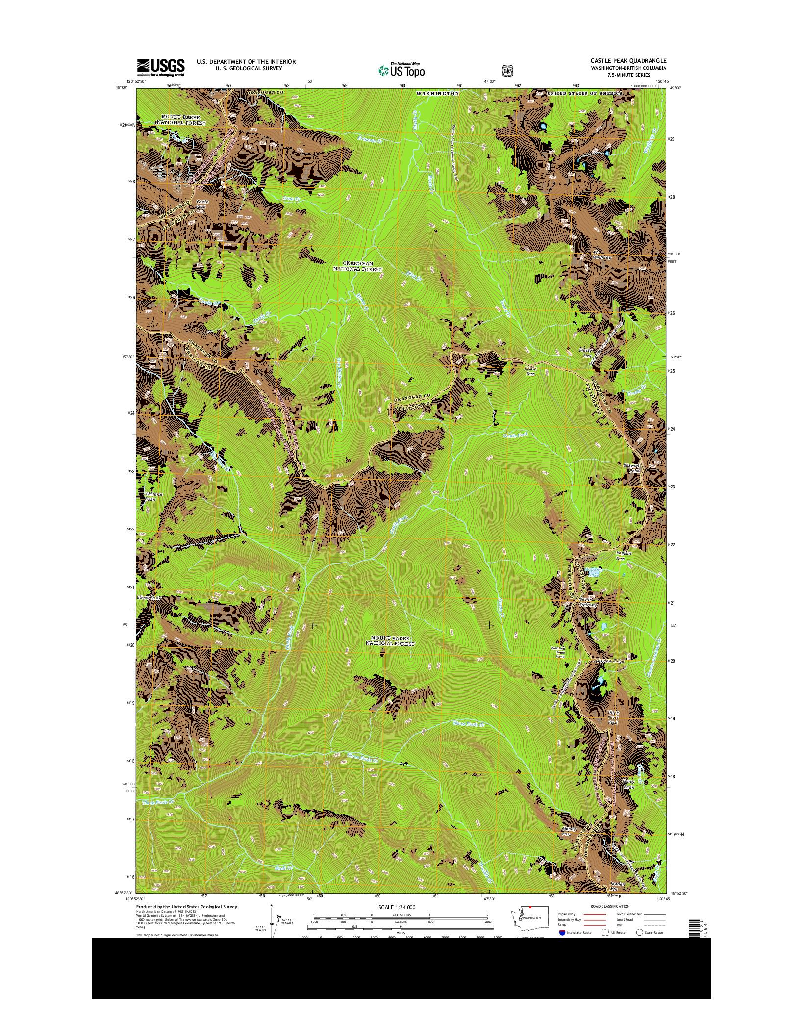 USGS US TOPO 7.5-MINUTE MAP FOR CASTLE PEAK, WA-BC 2014