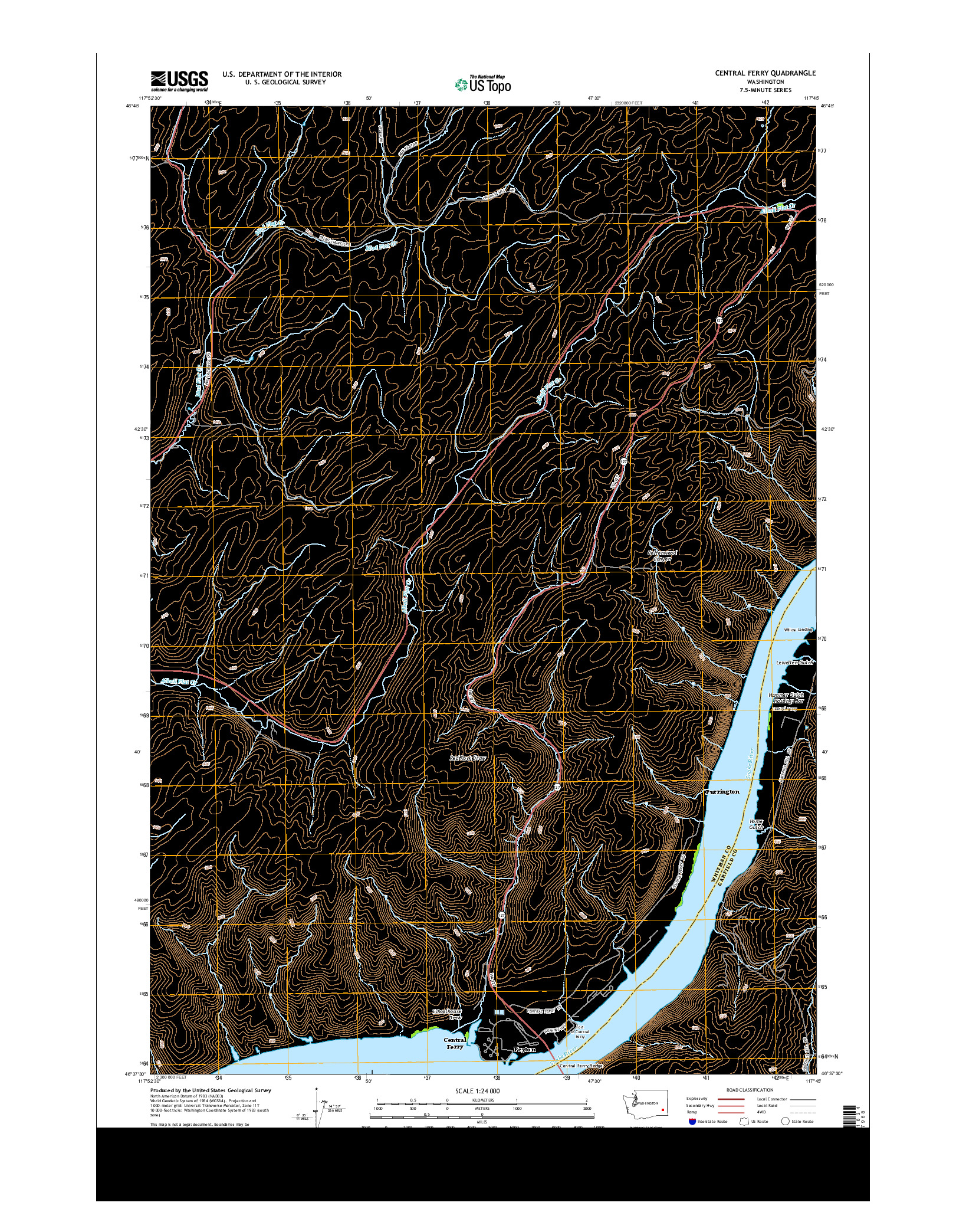 USGS US TOPO 7.5-MINUTE MAP FOR CENTRAL FERRY, WA 2014