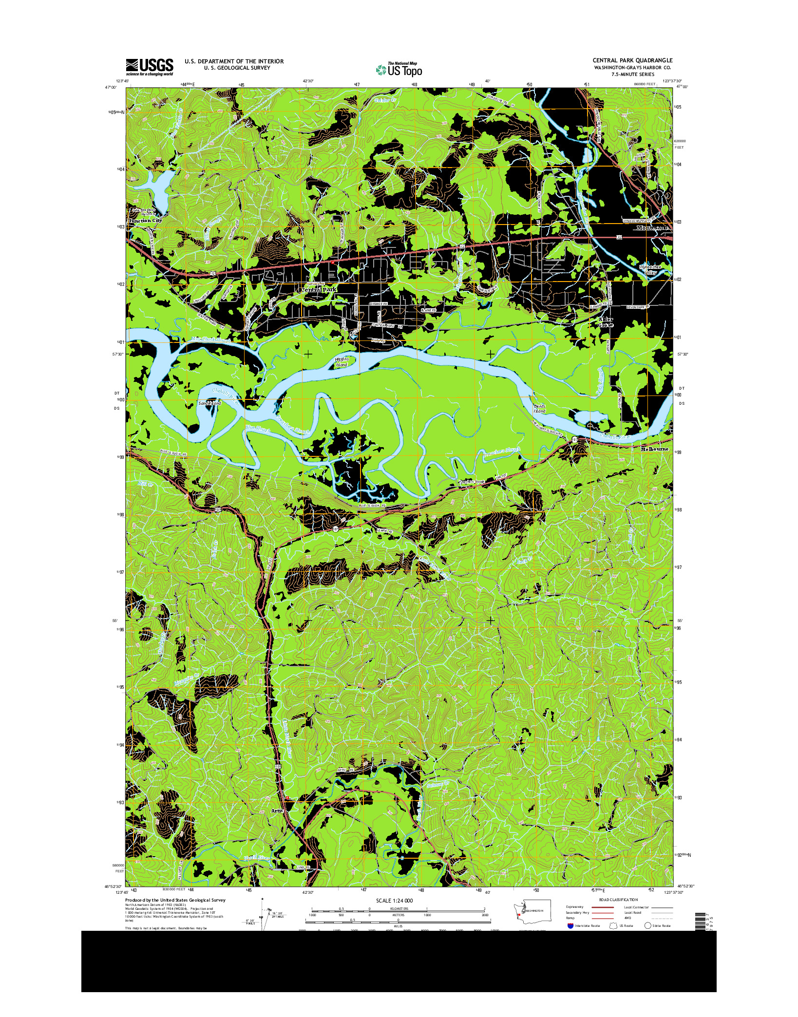 USGS US TOPO 7.5-MINUTE MAP FOR CENTRAL PARK, WA 2014