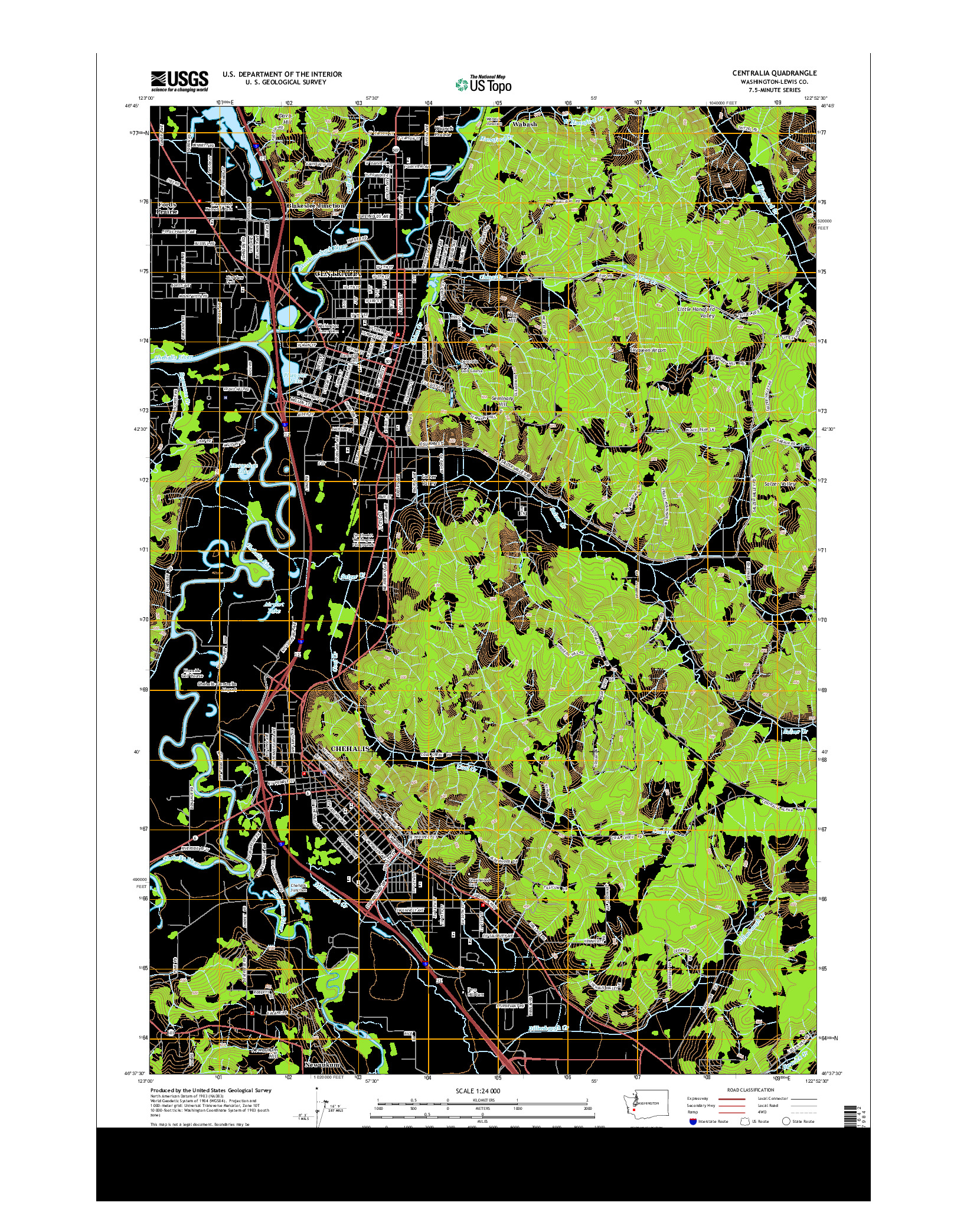 USGS US TOPO 7.5-MINUTE MAP FOR CENTRALIA, WA 2014