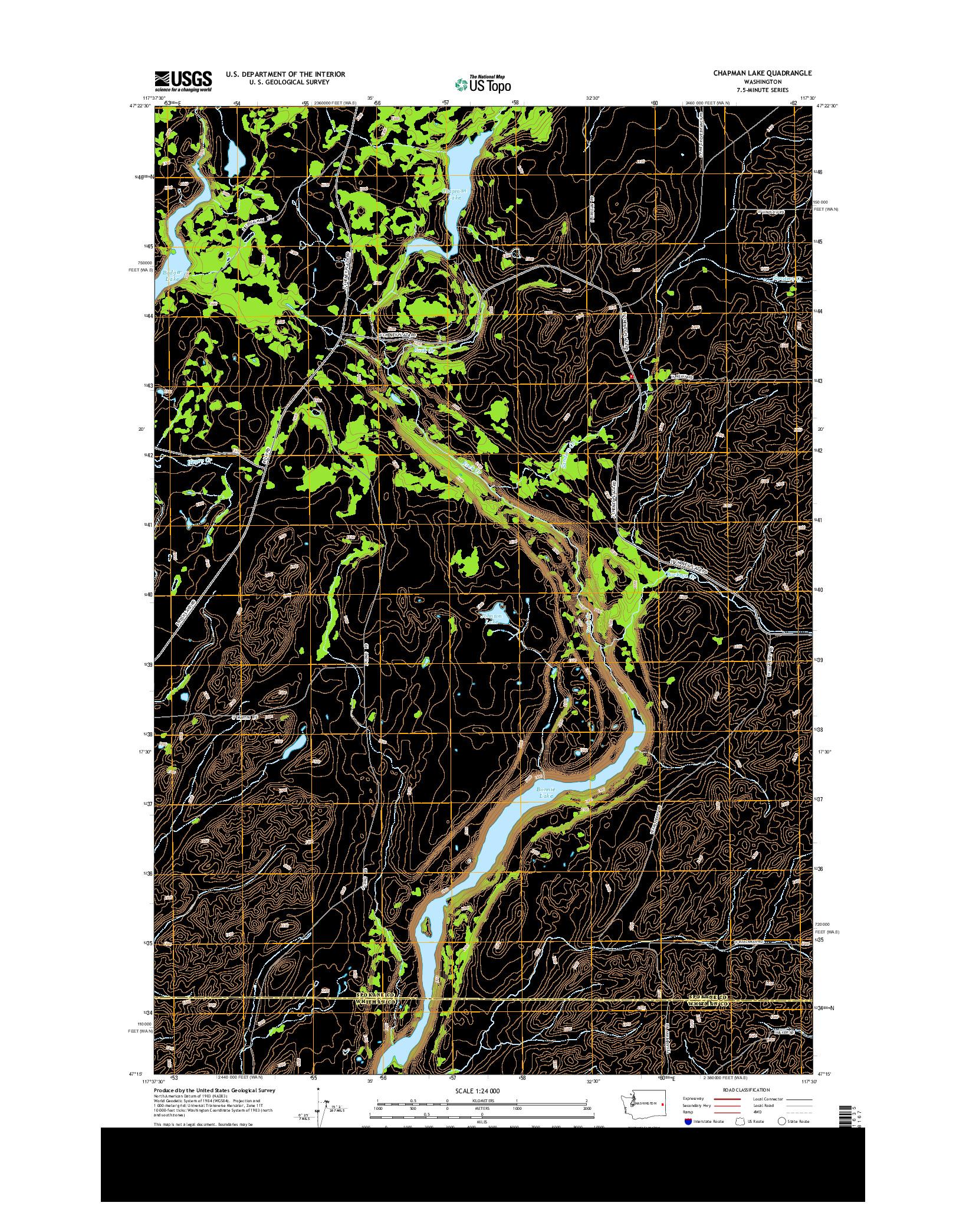 USGS US TOPO 7.5-MINUTE MAP FOR CHAPMAN LAKE, WA 2014
