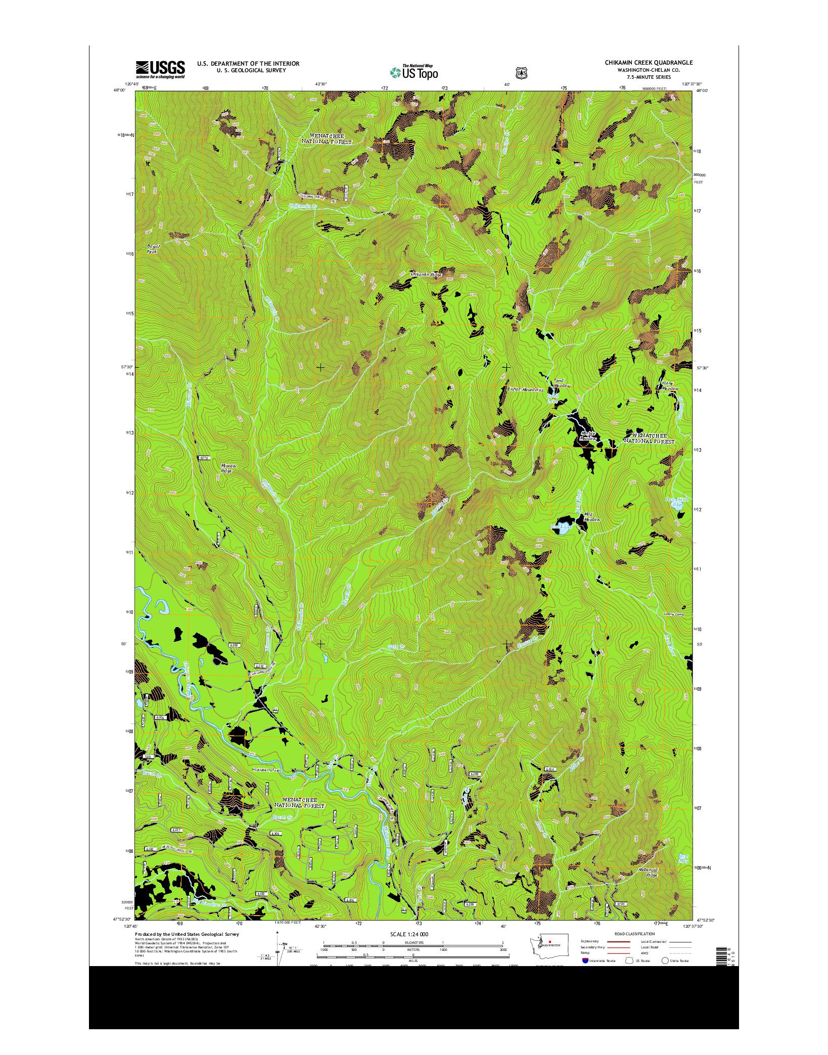 USGS US TOPO 7.5-MINUTE MAP FOR CHIKAMIN CREEK, WA 2014