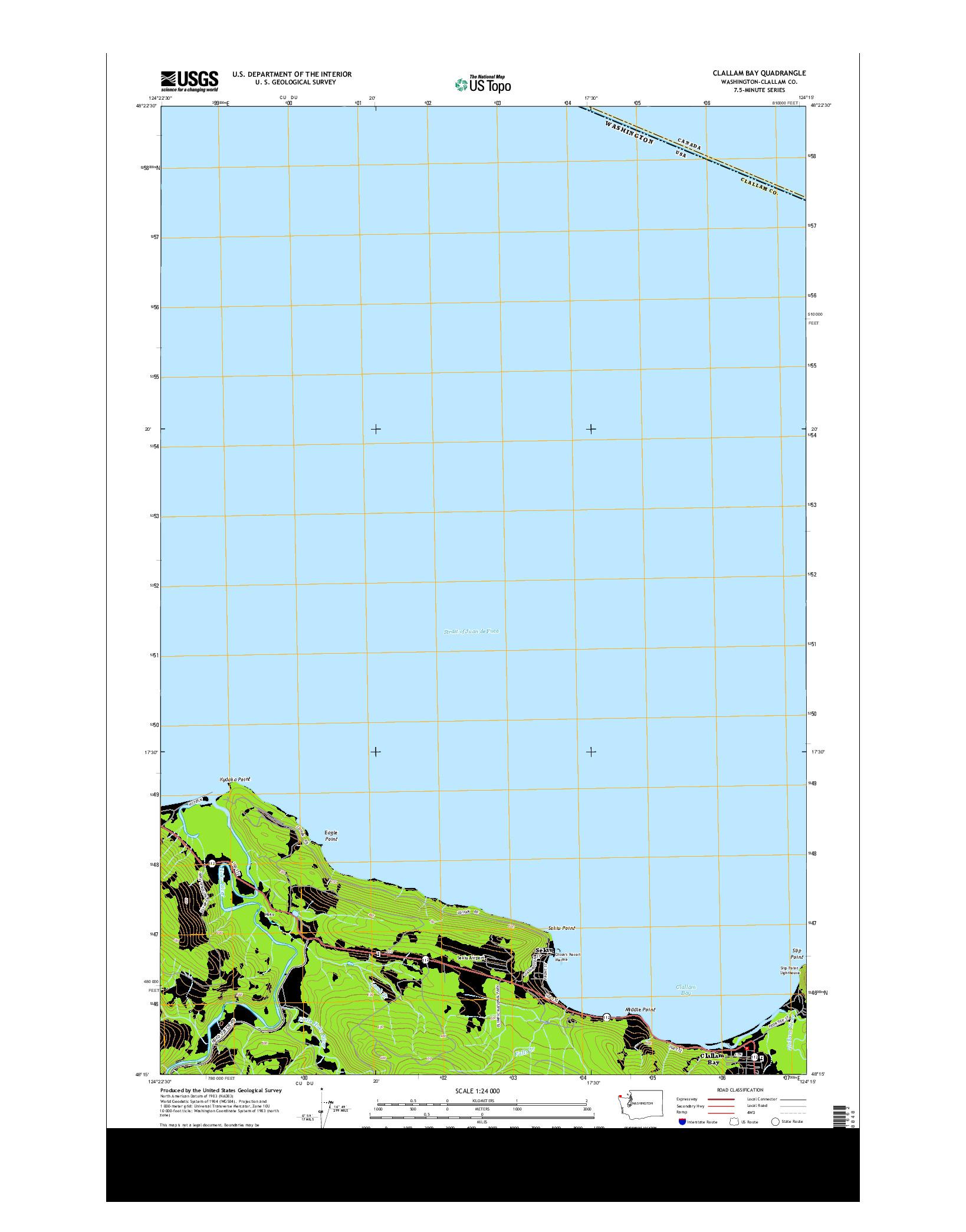 USGS US TOPO 7.5-MINUTE MAP FOR CLALLAM BAY, WA 2014