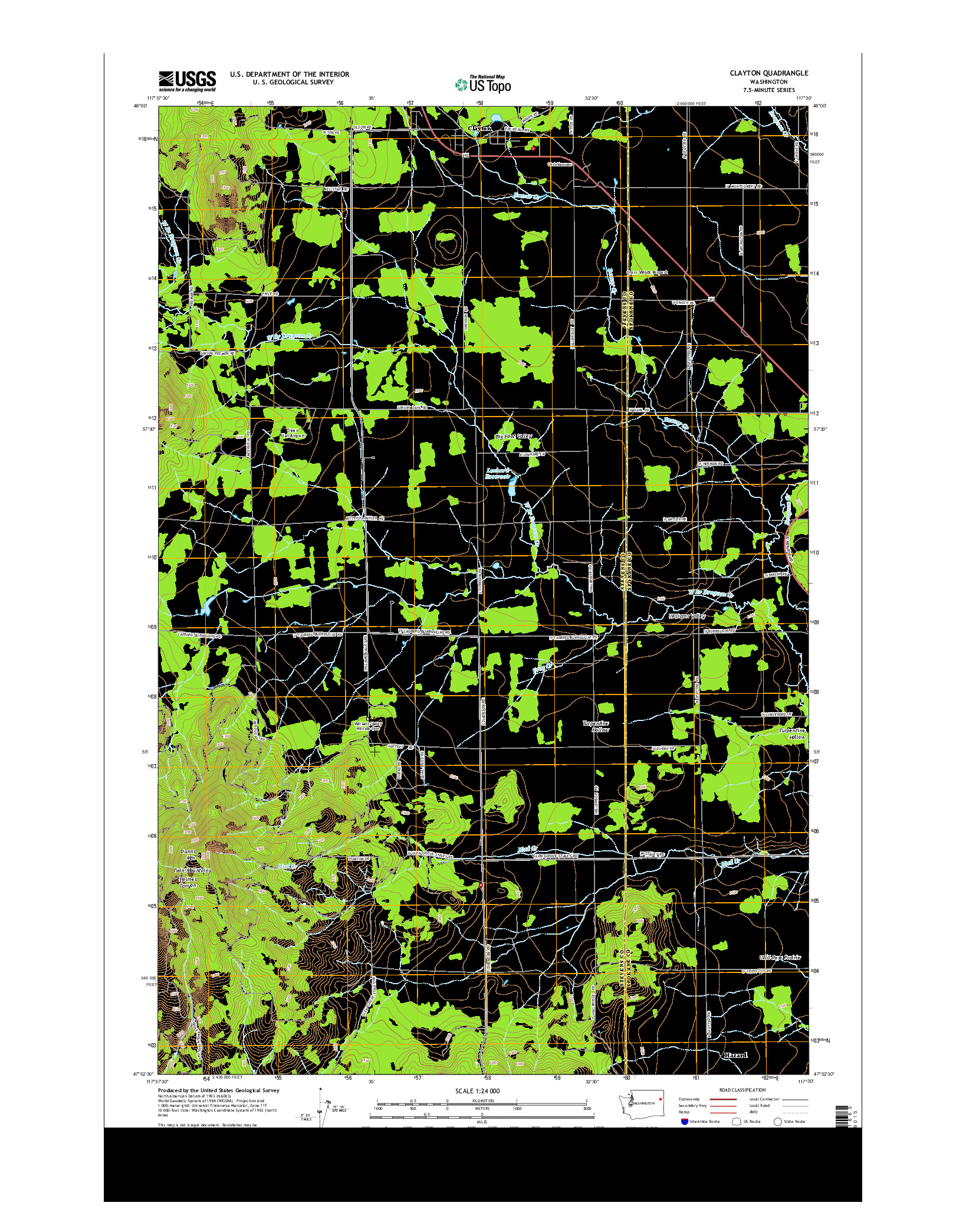 USGS US TOPO 7.5-MINUTE MAP FOR CLAYTON, WA 2014