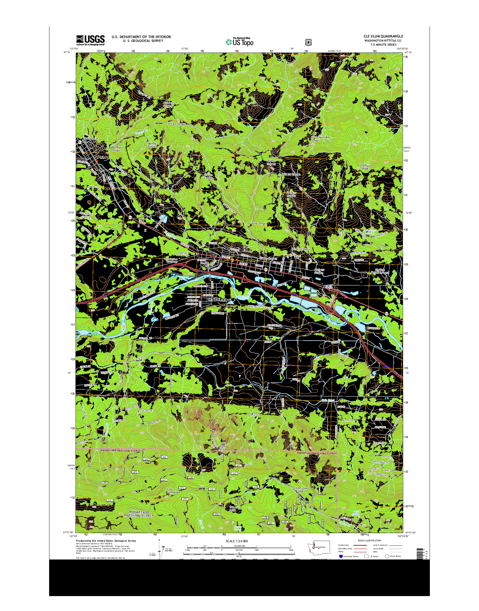 USGS US TOPO 7.5-MINUTE MAP FOR CLE ELUM, WA 2014