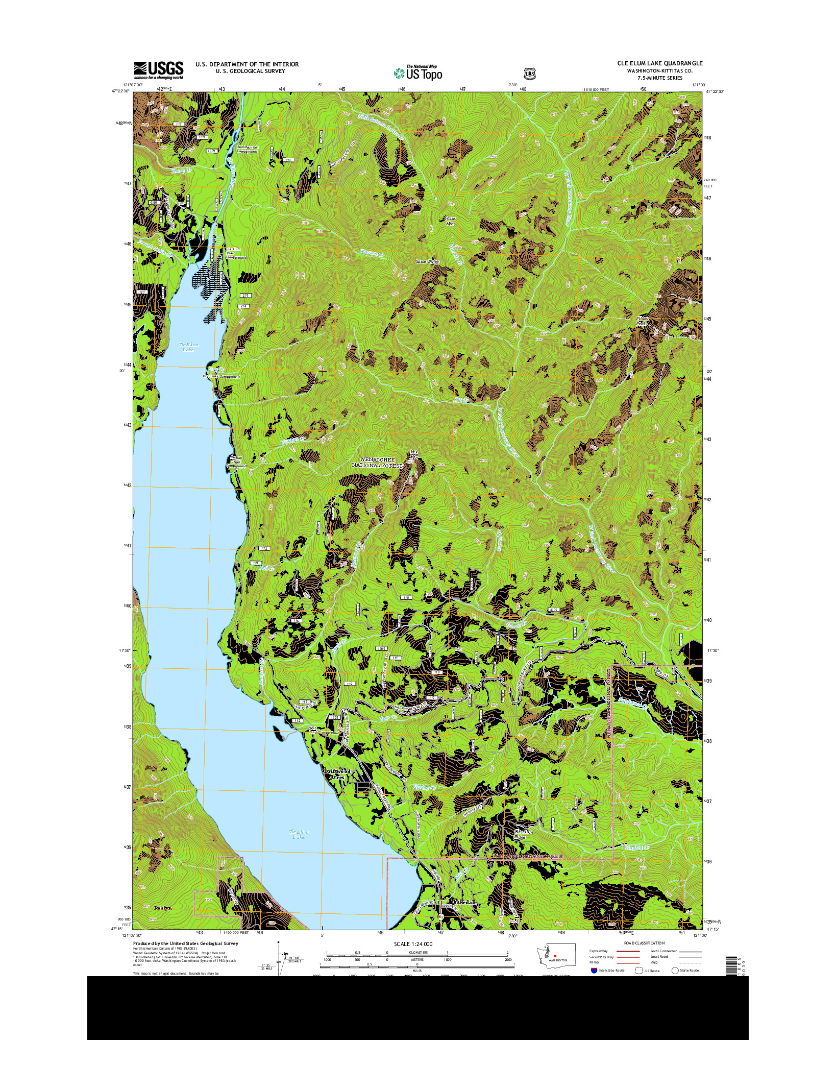 USGS US TOPO 7.5-MINUTE MAP FOR CLE ELUM LAKE, WA 2014
