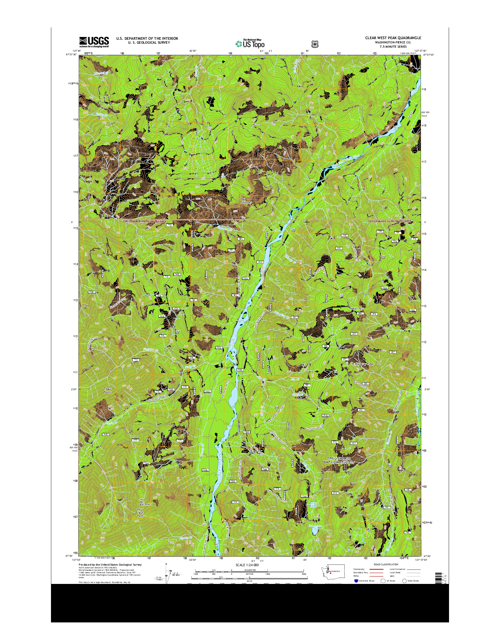 USGS US TOPO 7.5-MINUTE MAP FOR CLEAR WEST PEAK, WA 2014