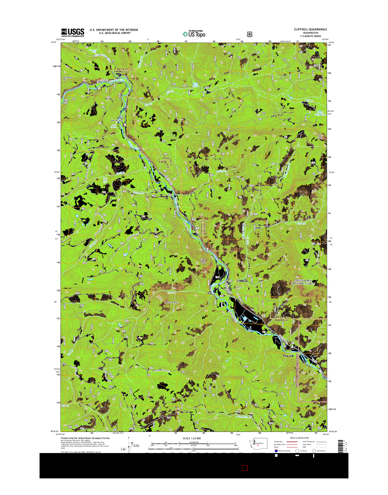 USGS US TOPO 7.5-MINUTE MAP FOR CLIFFDELL, WA 2014