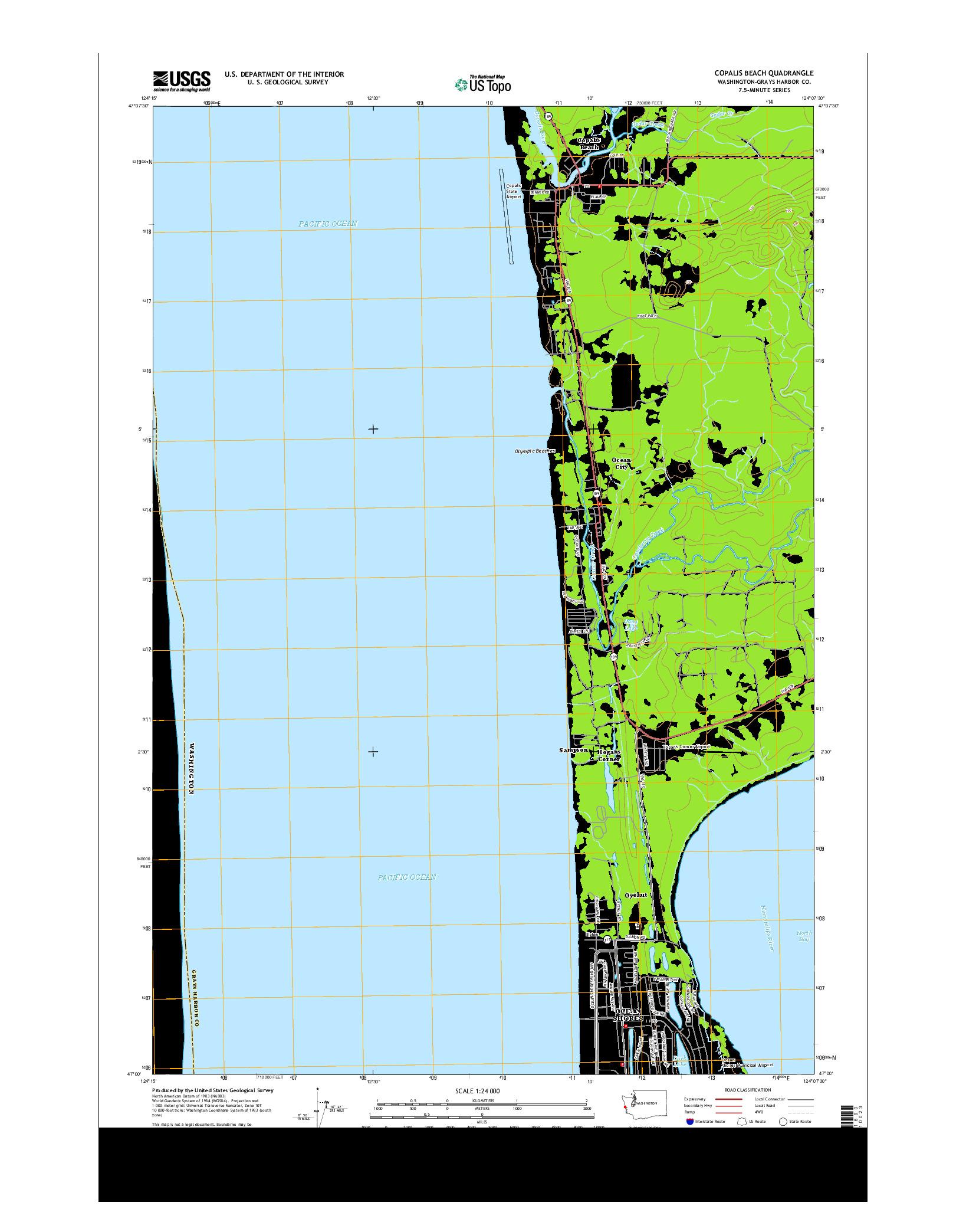USGS US TOPO 7.5-MINUTE MAP FOR COPALIS BEACH, WA 2014