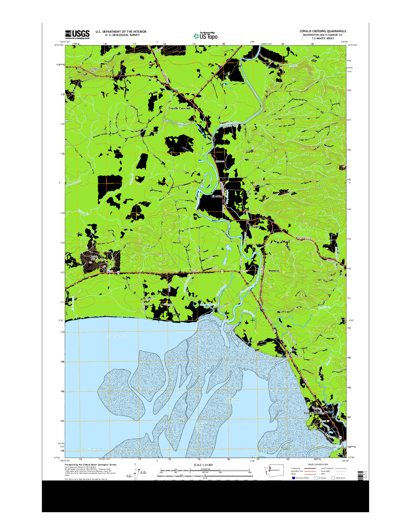 USGS US TOPO 7.5-MINUTE MAP FOR COPALIS CROSSING, WA 2014