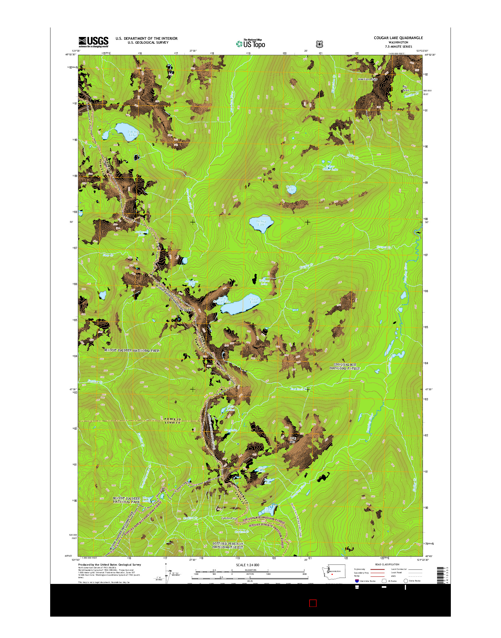 USGS US TOPO 7.5-MINUTE MAP FOR COUGAR LAKE, WA 2014