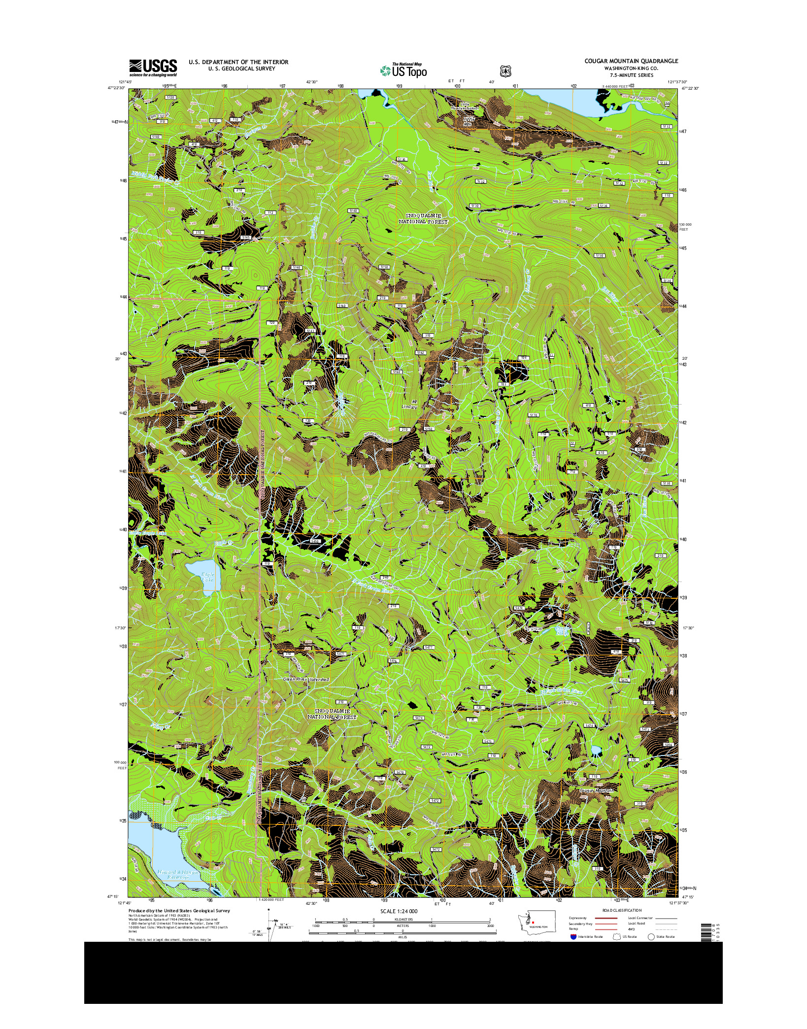 USGS US TOPO 7.5-MINUTE MAP FOR COUGAR MOUNTAIN, WA 2014