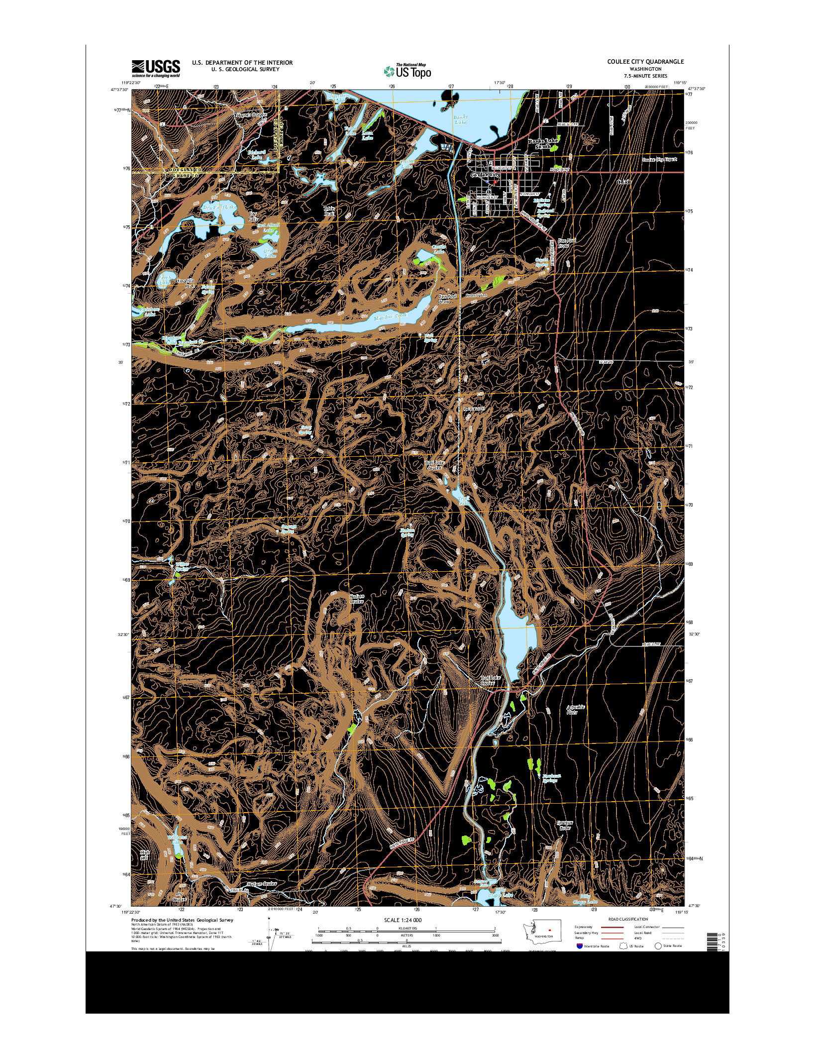 USGS US TOPO 7.5-MINUTE MAP FOR COULEE CITY, WA 2014