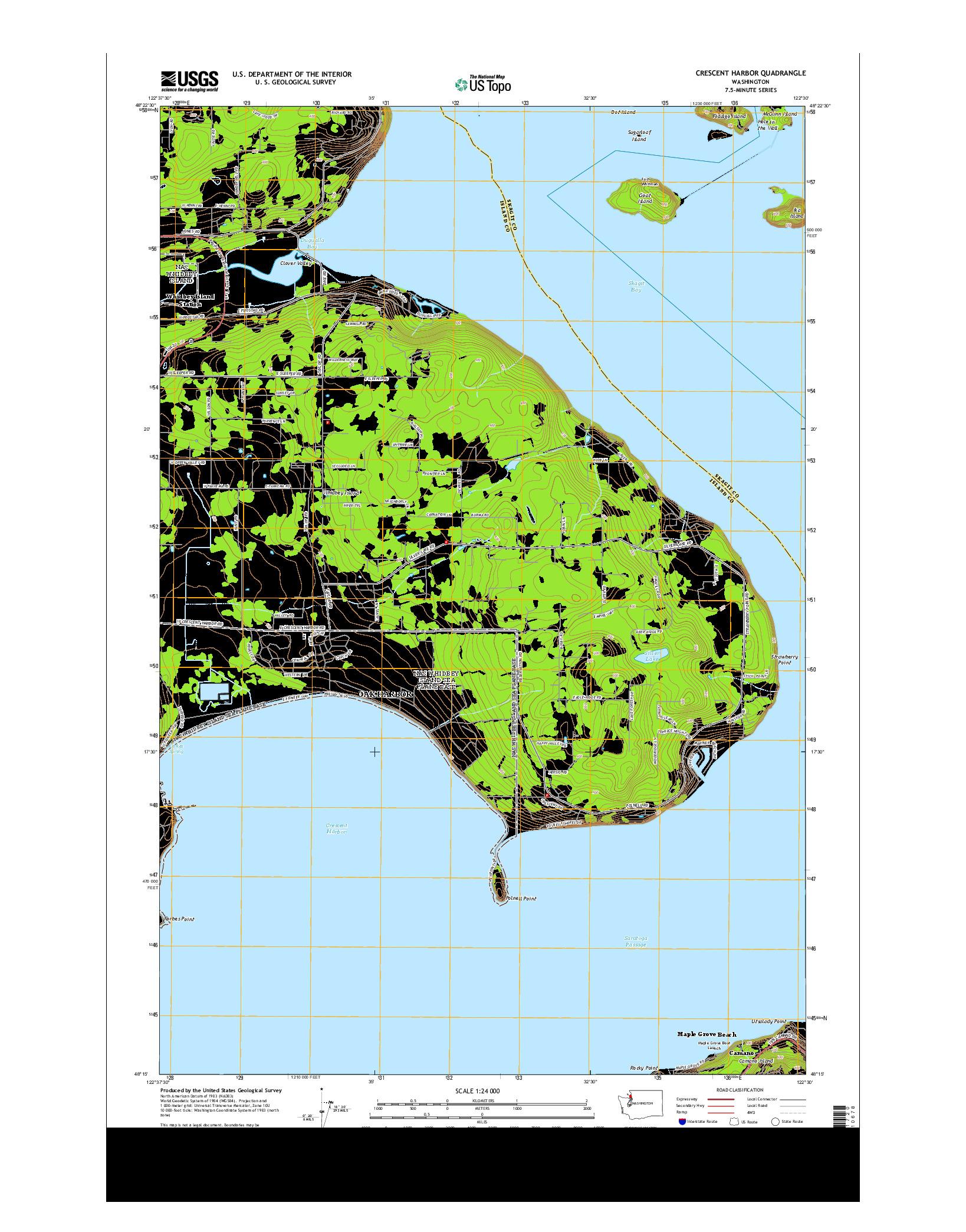 USGS US TOPO 7.5-MINUTE MAP FOR CRESCENT HARBOR, WA 2014