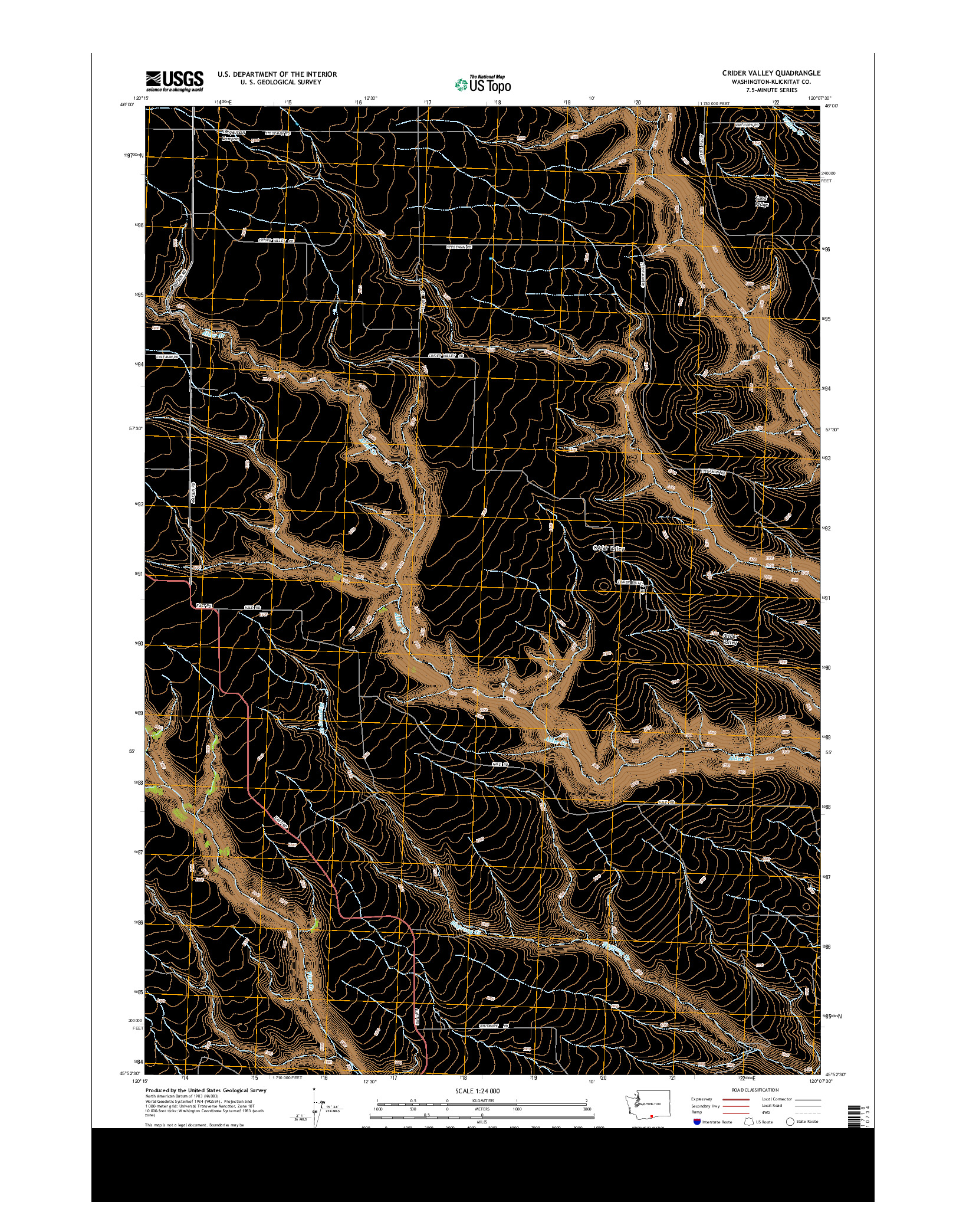 USGS US TOPO 7.5-MINUTE MAP FOR CRIDER VALLEY, WA 2014