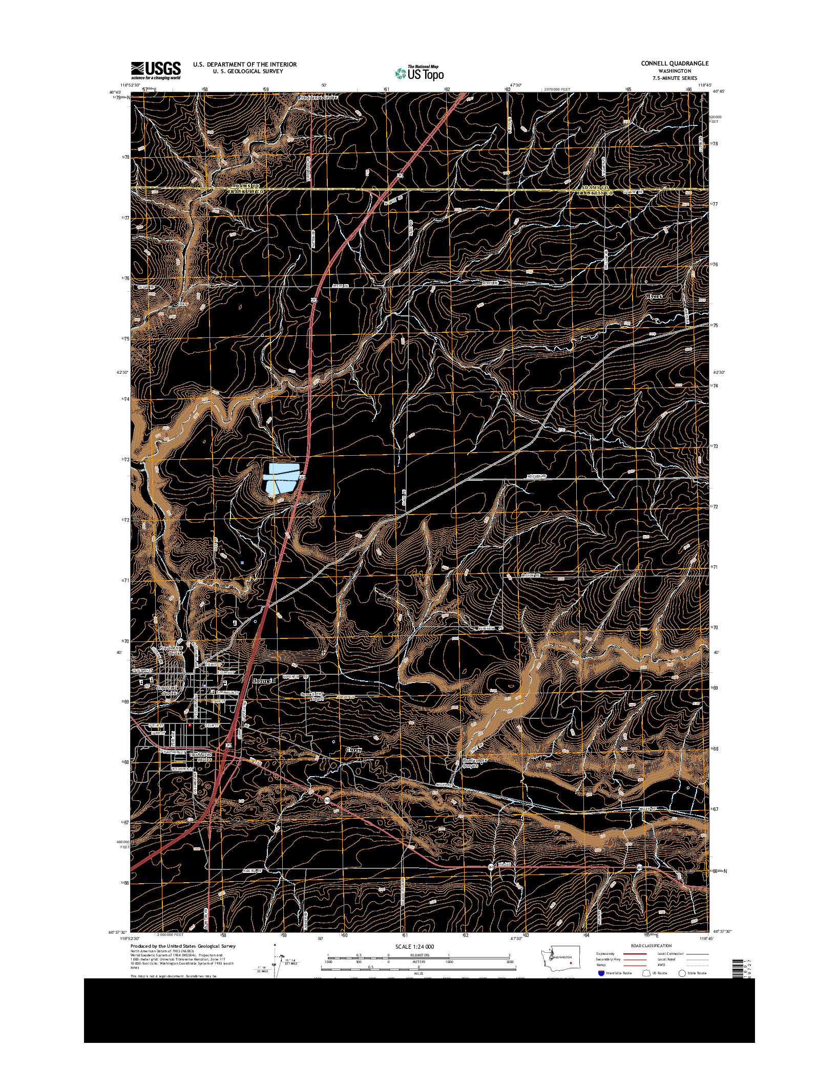 USGS US TOPO 7.5-MINUTE MAP FOR CONNELL, WA 2014