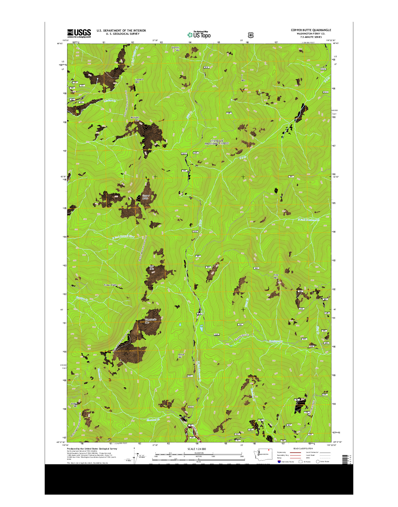 USGS US TOPO 7.5-MINUTE MAP FOR COPPER BUTTE, WA 2014