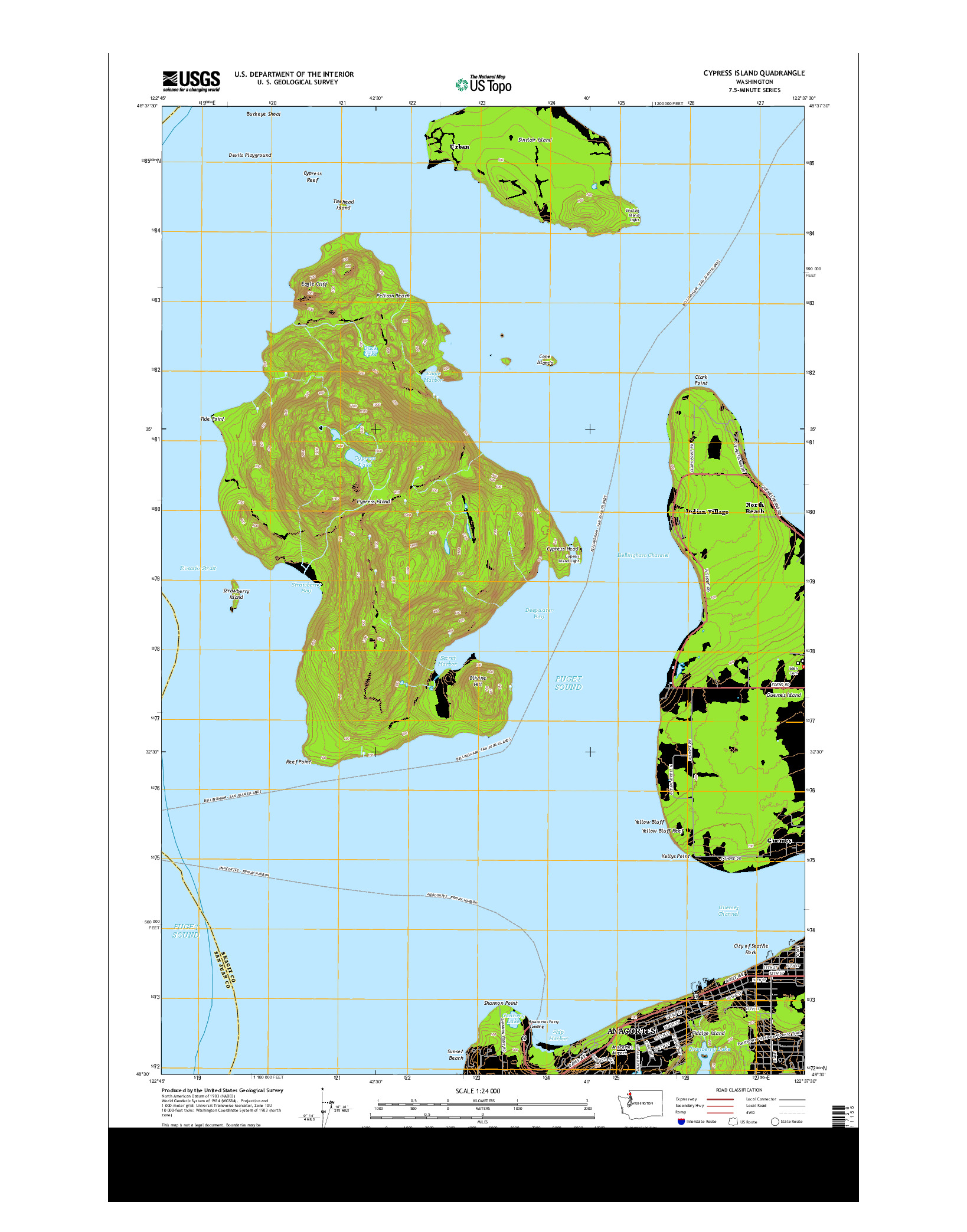 USGS US TOPO 7.5-MINUTE MAP FOR CYPRESS ISLAND, WA 2014