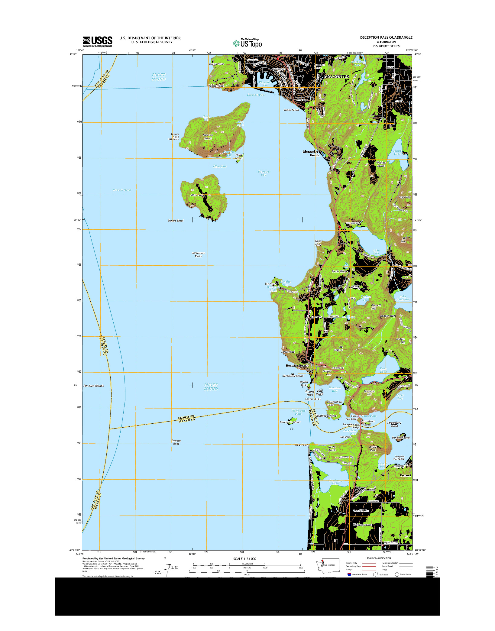 USGS US TOPO 7.5-MINUTE MAP FOR DECEPTION PASS, WA 2014