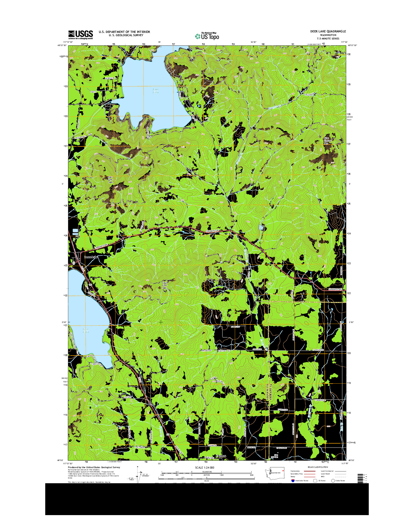 USGS US TOPO 7.5-MINUTE MAP FOR DEER LAKE, WA 2014