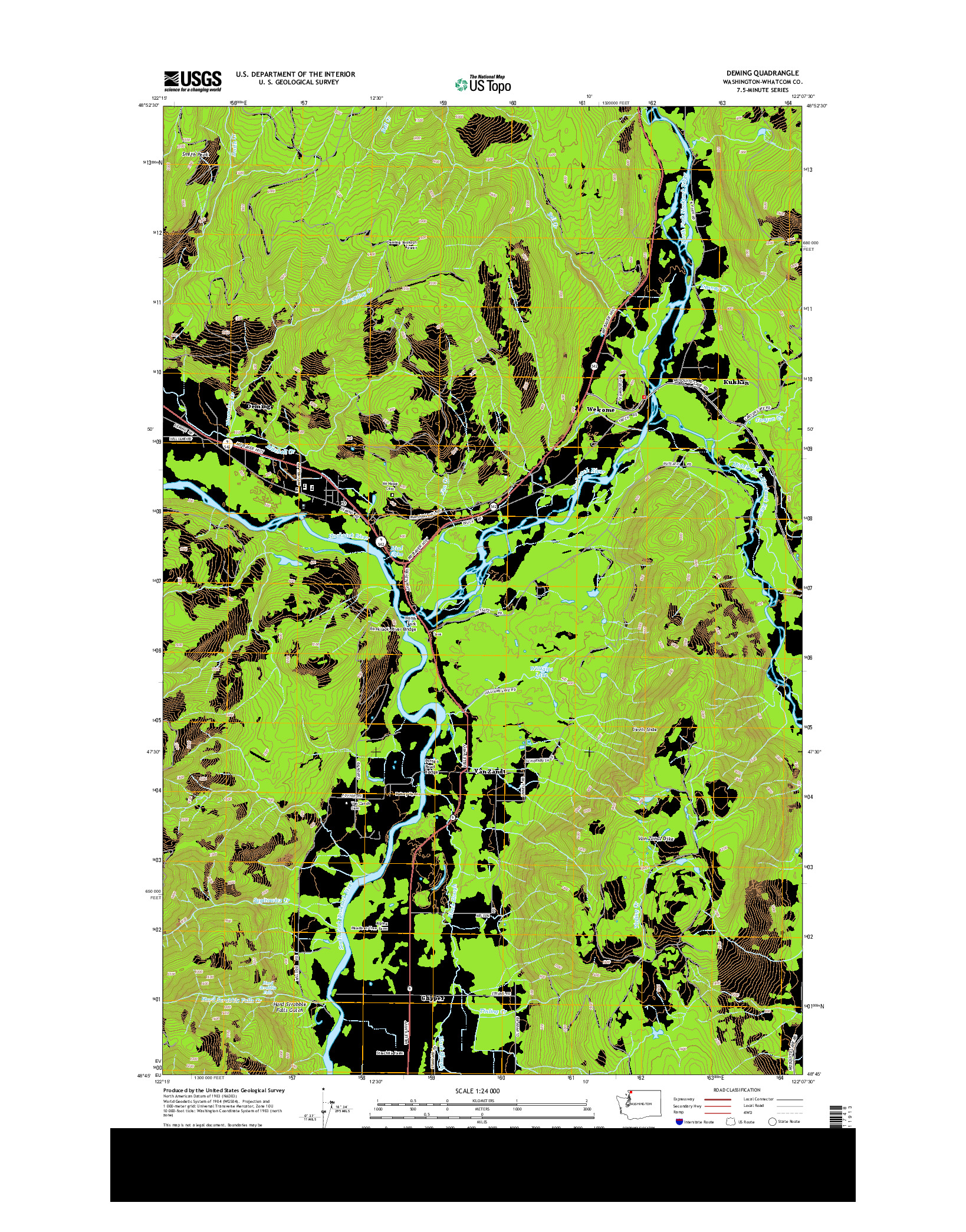 USGS US TOPO 7.5-MINUTE MAP FOR DEMING, WA 2014