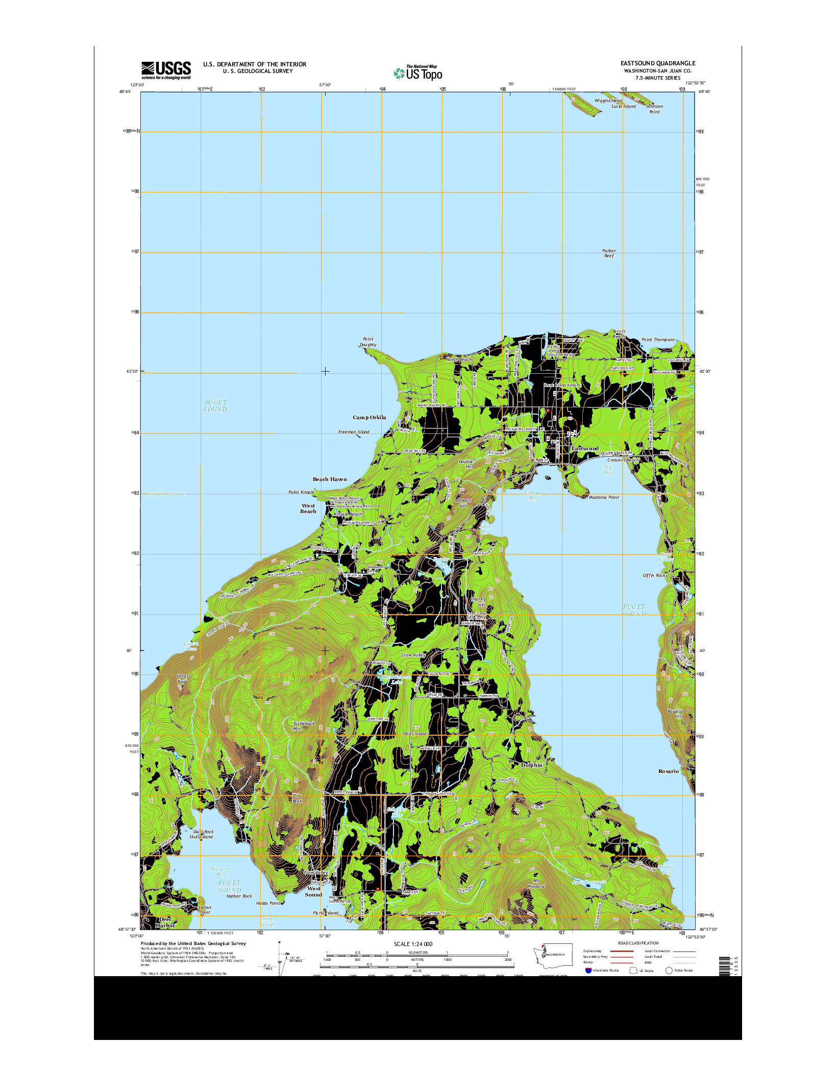 USGS US TOPO 7.5-MINUTE MAP FOR EASTSOUND, WA 2014
