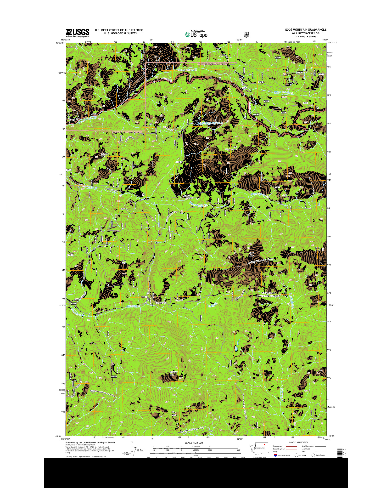 USGS US TOPO 7.5-MINUTE MAP FOR EDDS MOUNTAIN, WA 2014