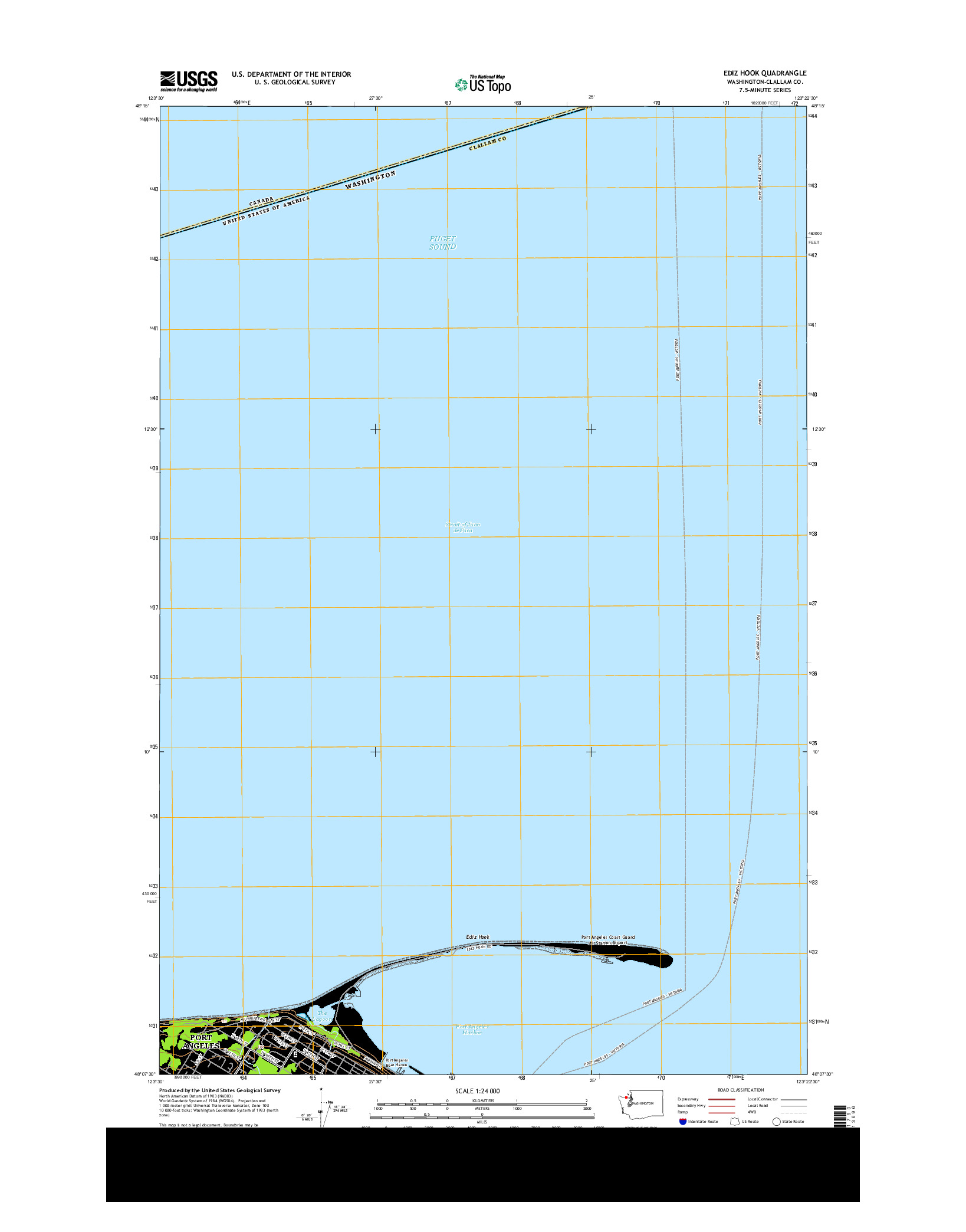 USGS US TOPO 7.5-MINUTE MAP FOR EDIZ HOOK, WA 2014