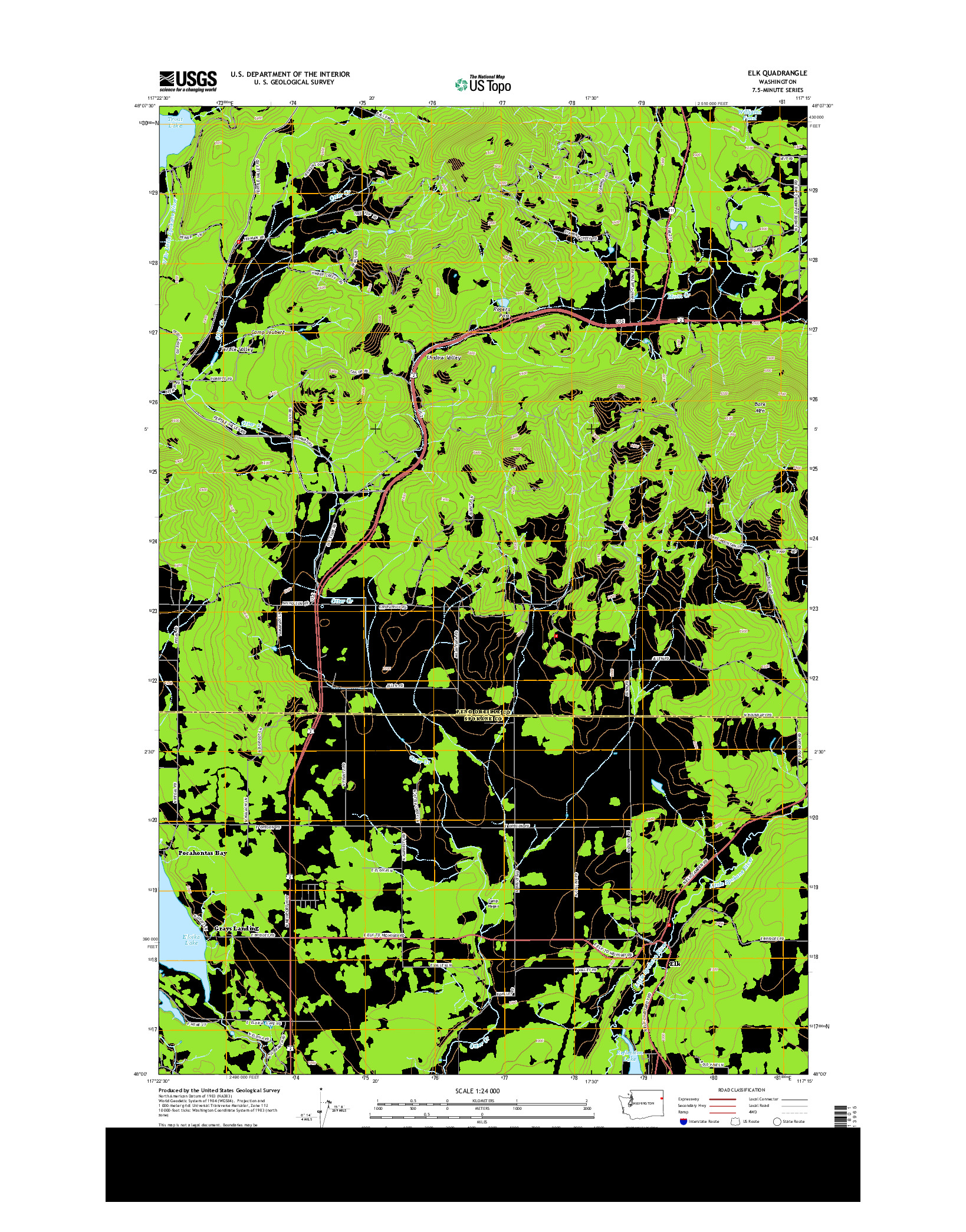 USGS US TOPO 7.5-MINUTE MAP FOR ELK, WA 2014