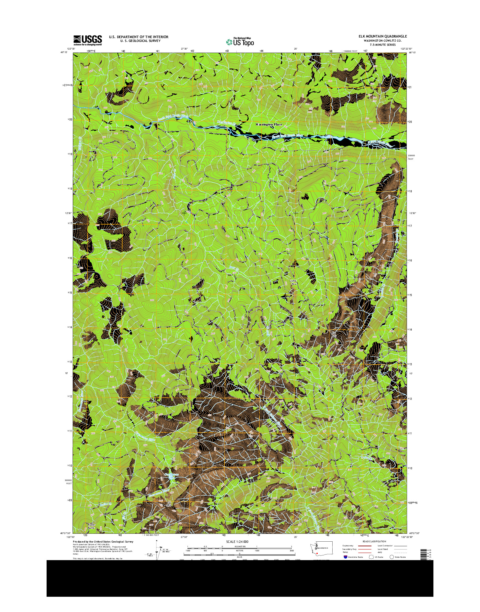 USGS US TOPO 7.5-MINUTE MAP FOR ELK MOUNTAIN, WA 2014