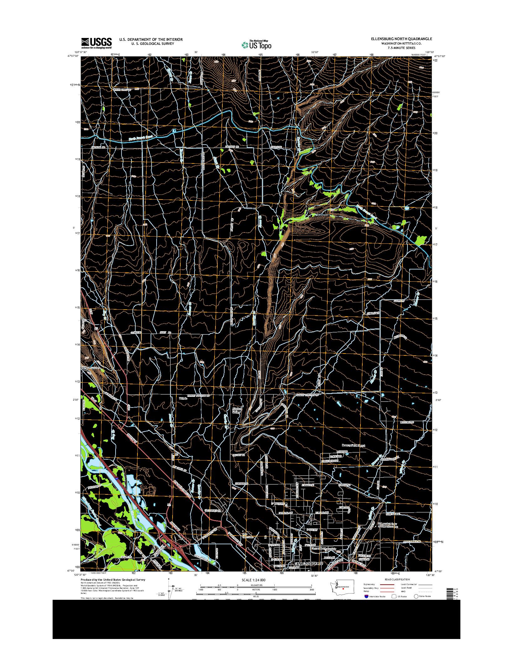 USGS US TOPO 7.5-MINUTE MAP FOR ELLENSBURG NORTH, WA 2014