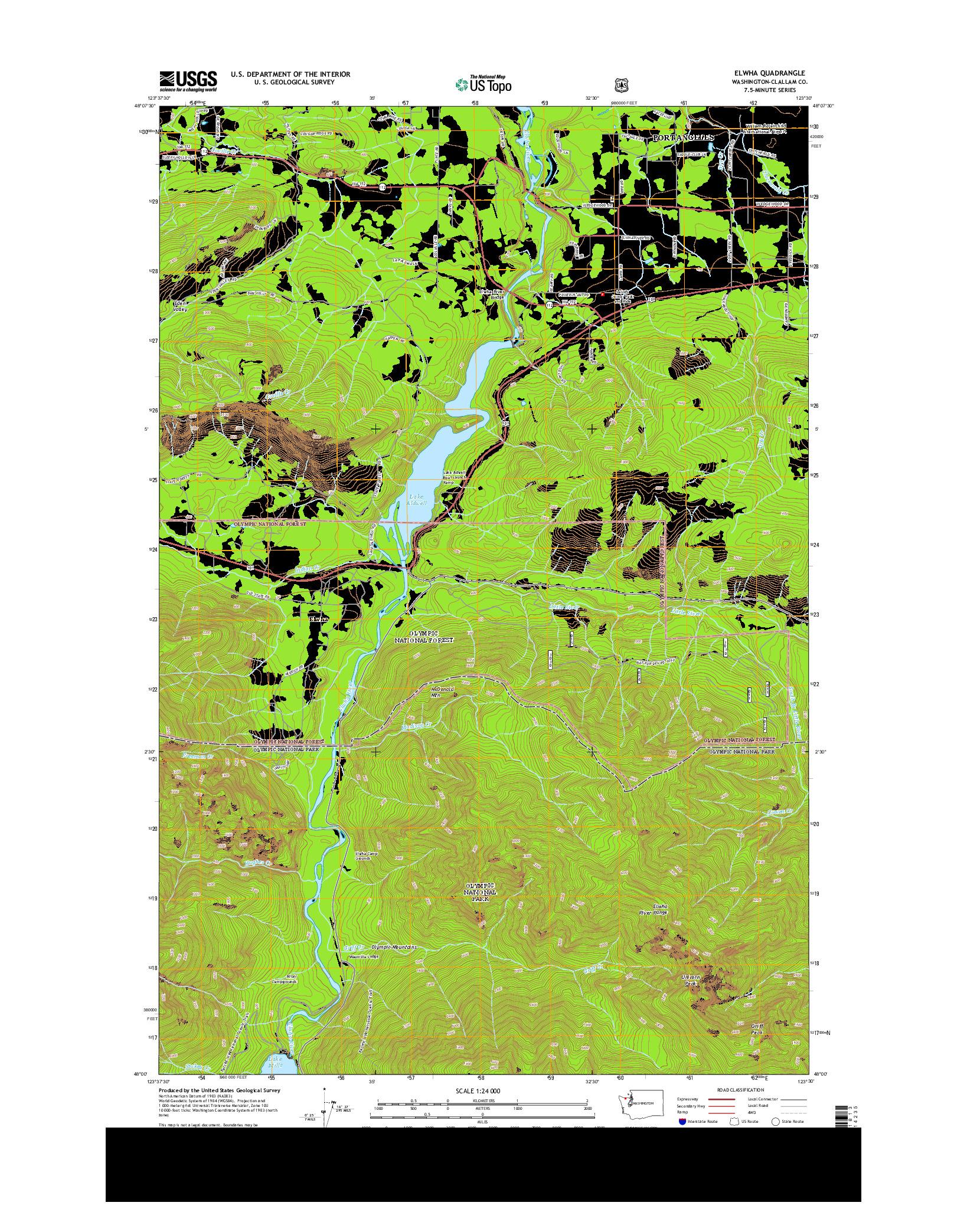USGS US TOPO 7.5-MINUTE MAP FOR ELWHA, WA 2014