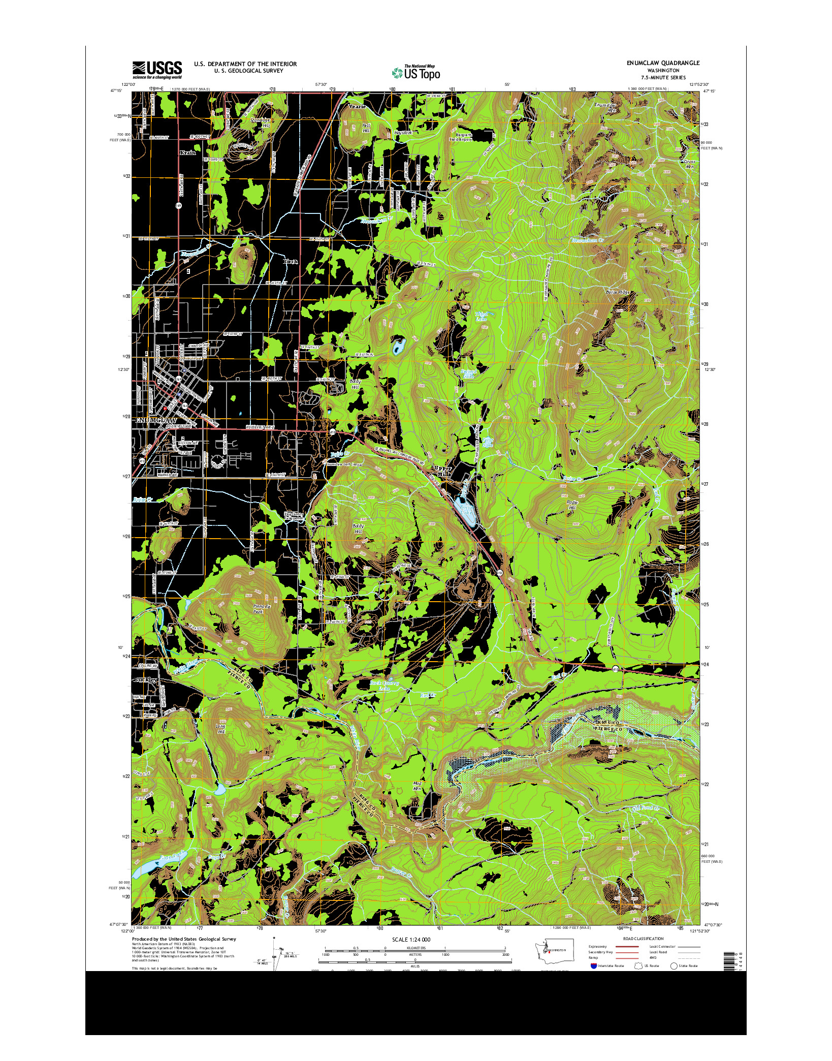 USGS US TOPO 7.5-MINUTE MAP FOR ENUMCLAW, WA 2014