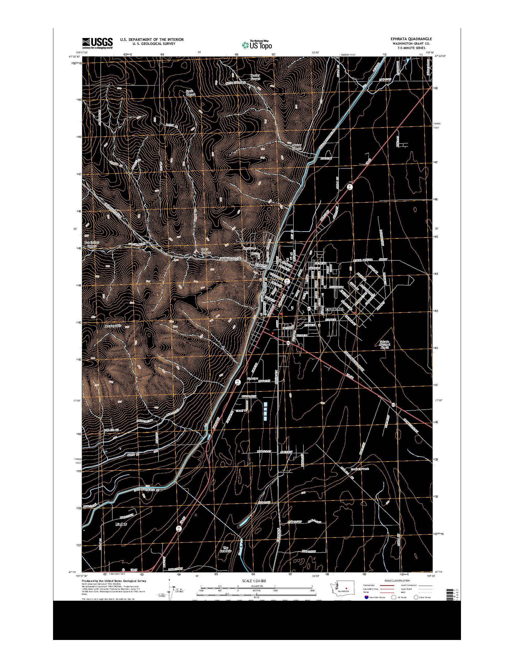 USGS US TOPO 7.5-MINUTE MAP FOR EPHRATA, WA 2014