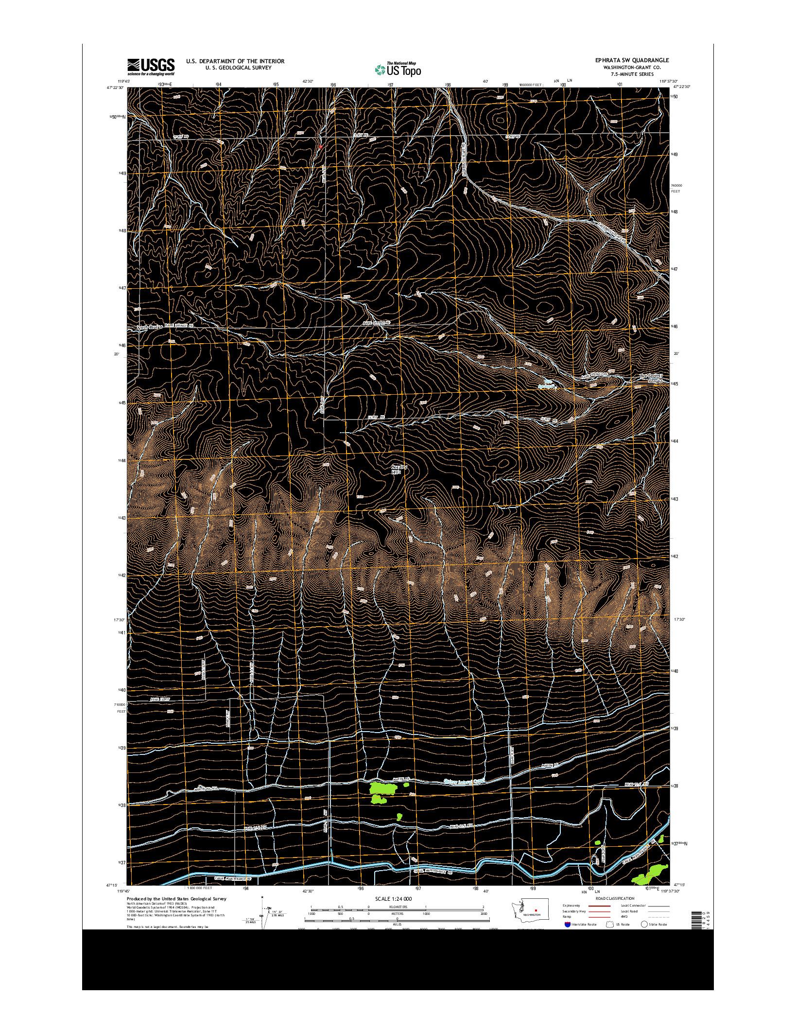 USGS US TOPO 7.5-MINUTE MAP FOR EPHRATA SW, WA 2014