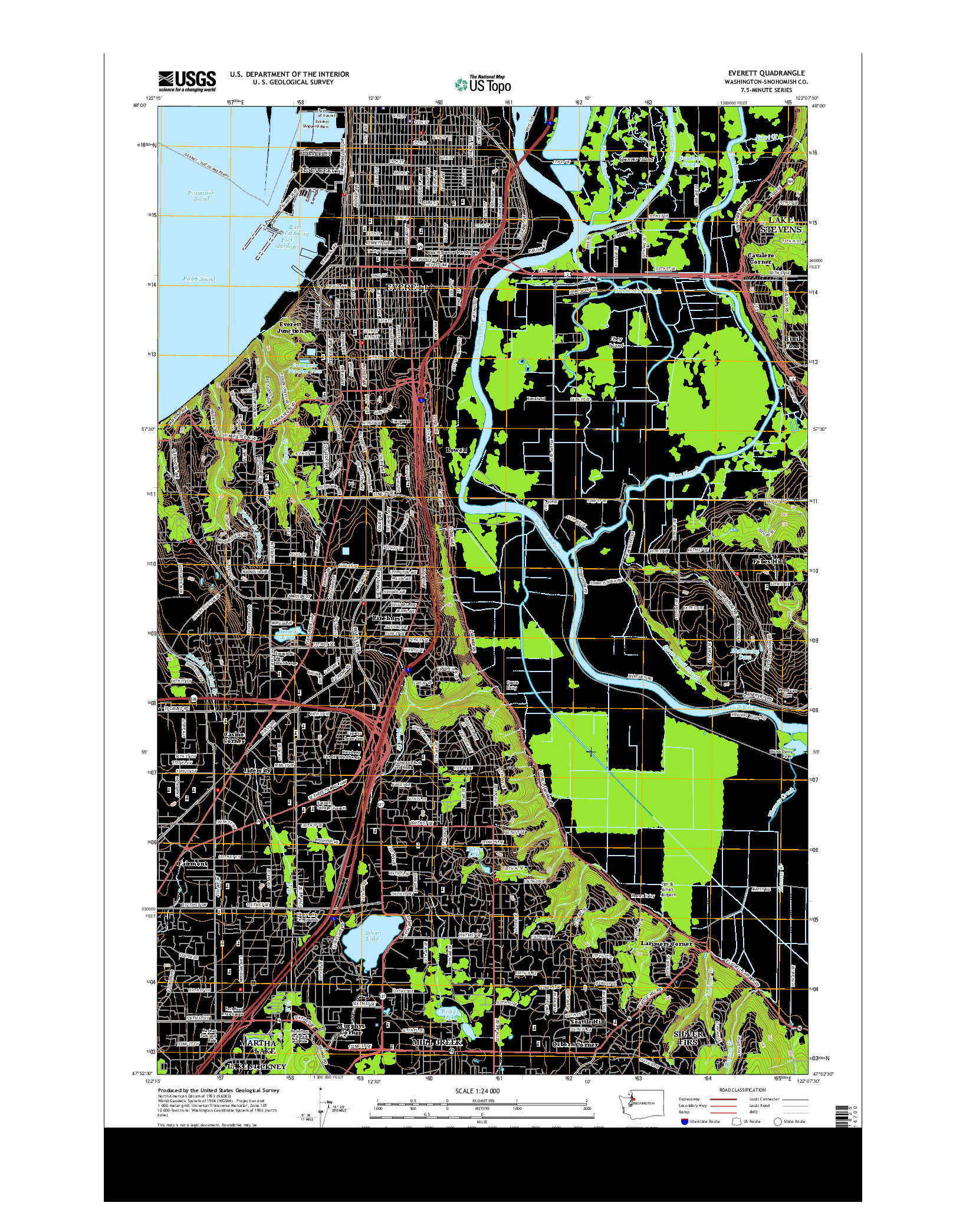 USGS US TOPO 7.5-MINUTE MAP FOR EVERETT, WA 2014