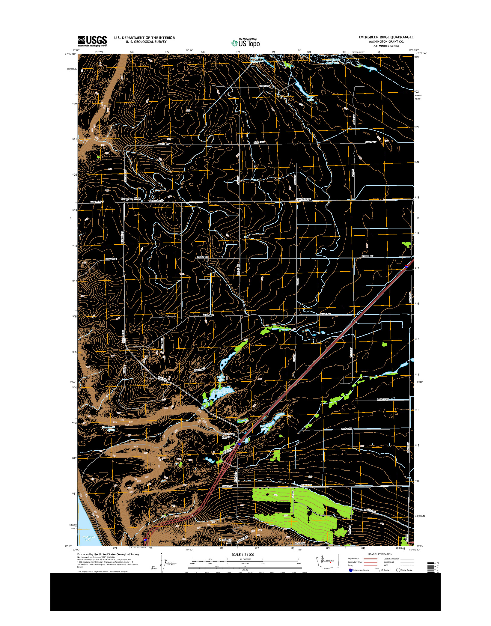 USGS US TOPO 7.5-MINUTE MAP FOR EVERGREEN RIDGE, WA 2014