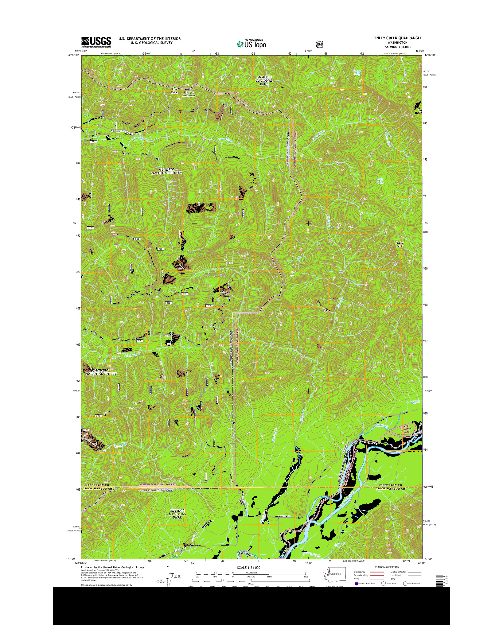 USGS US TOPO 7.5-MINUTE MAP FOR FINLEY CREEK, WA 2014