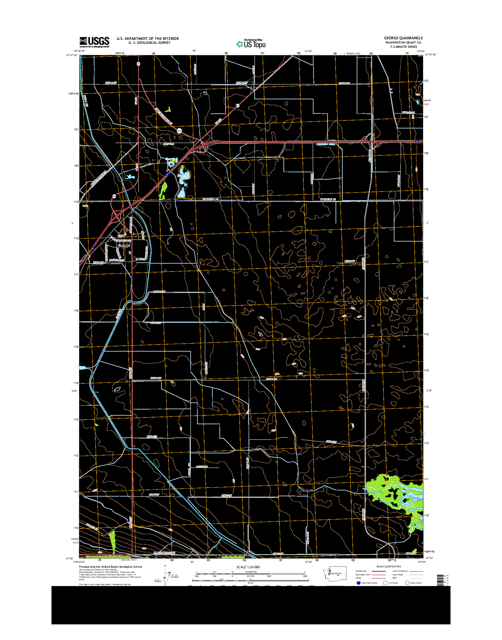 USGS US TOPO 7.5-MINUTE MAP FOR GEORGE, WA 2014