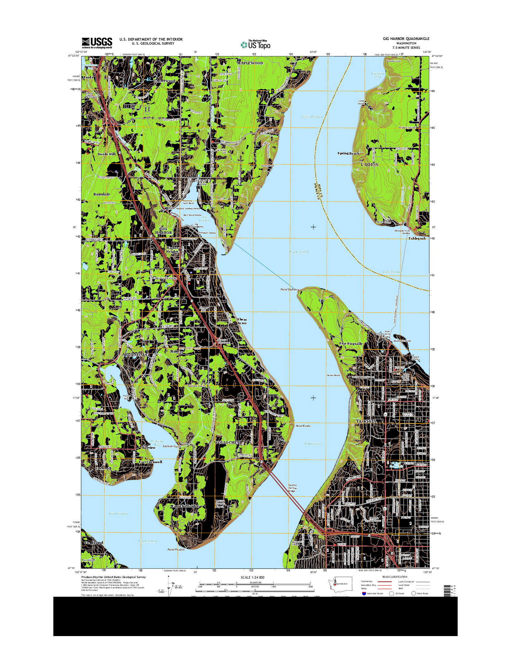 USGS US TOPO 7.5-MINUTE MAP FOR GIG HARBOR, WA 2014