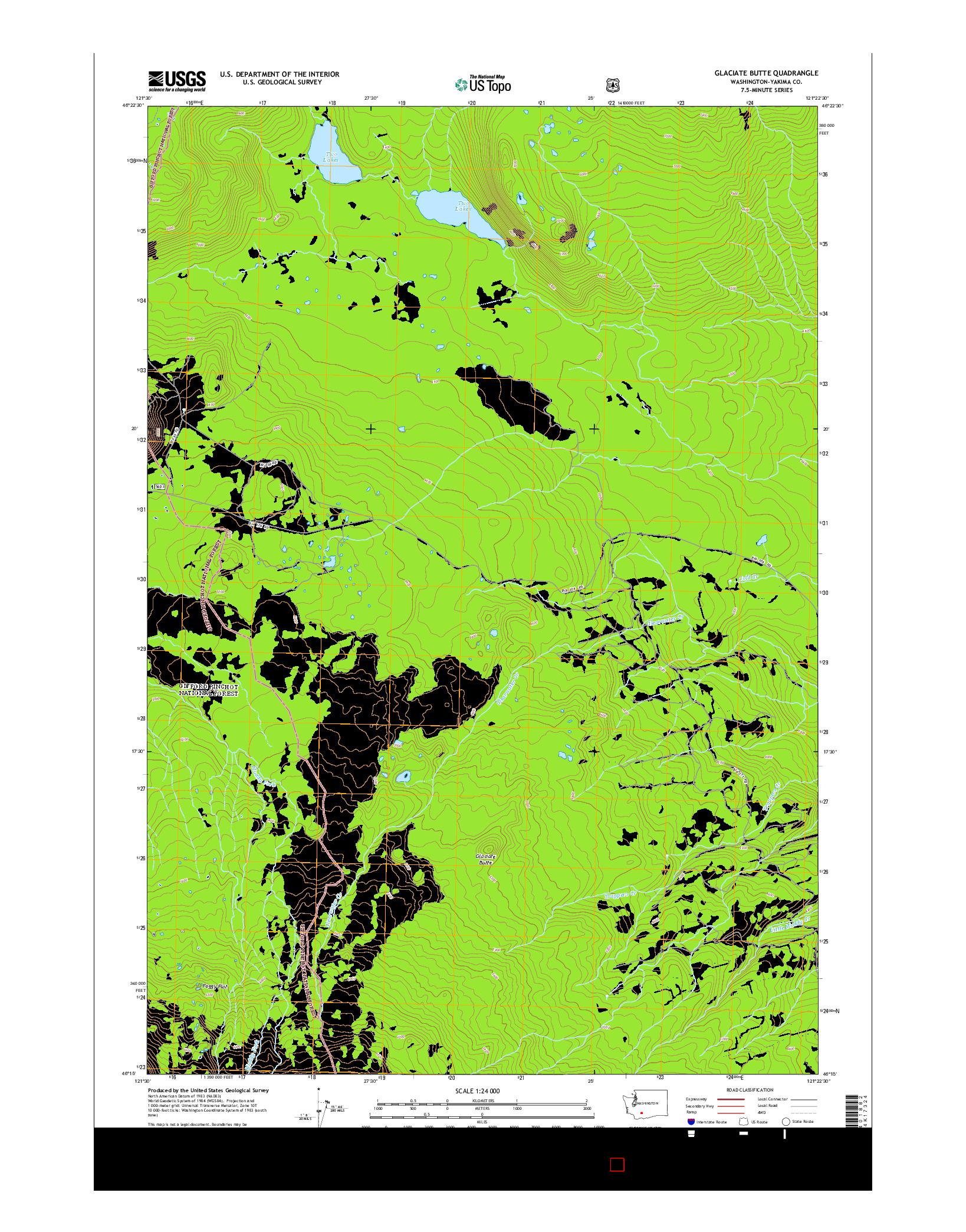 USGS US TOPO 7.5-MINUTE MAP FOR GLACIATE BUTTE, WA 2014