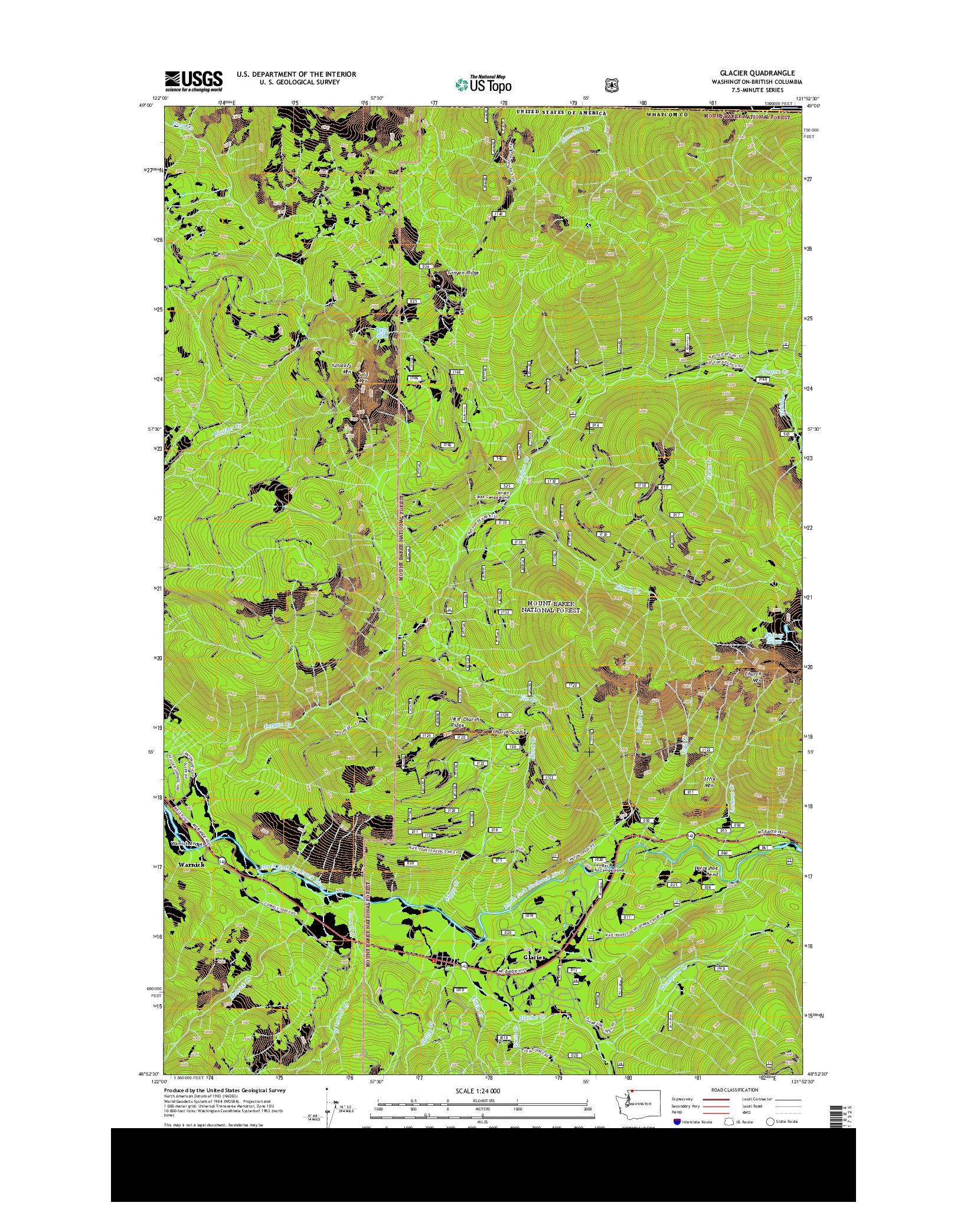 USGS US TOPO 7.5-MINUTE MAP FOR GLACIER, WA-BC 2014