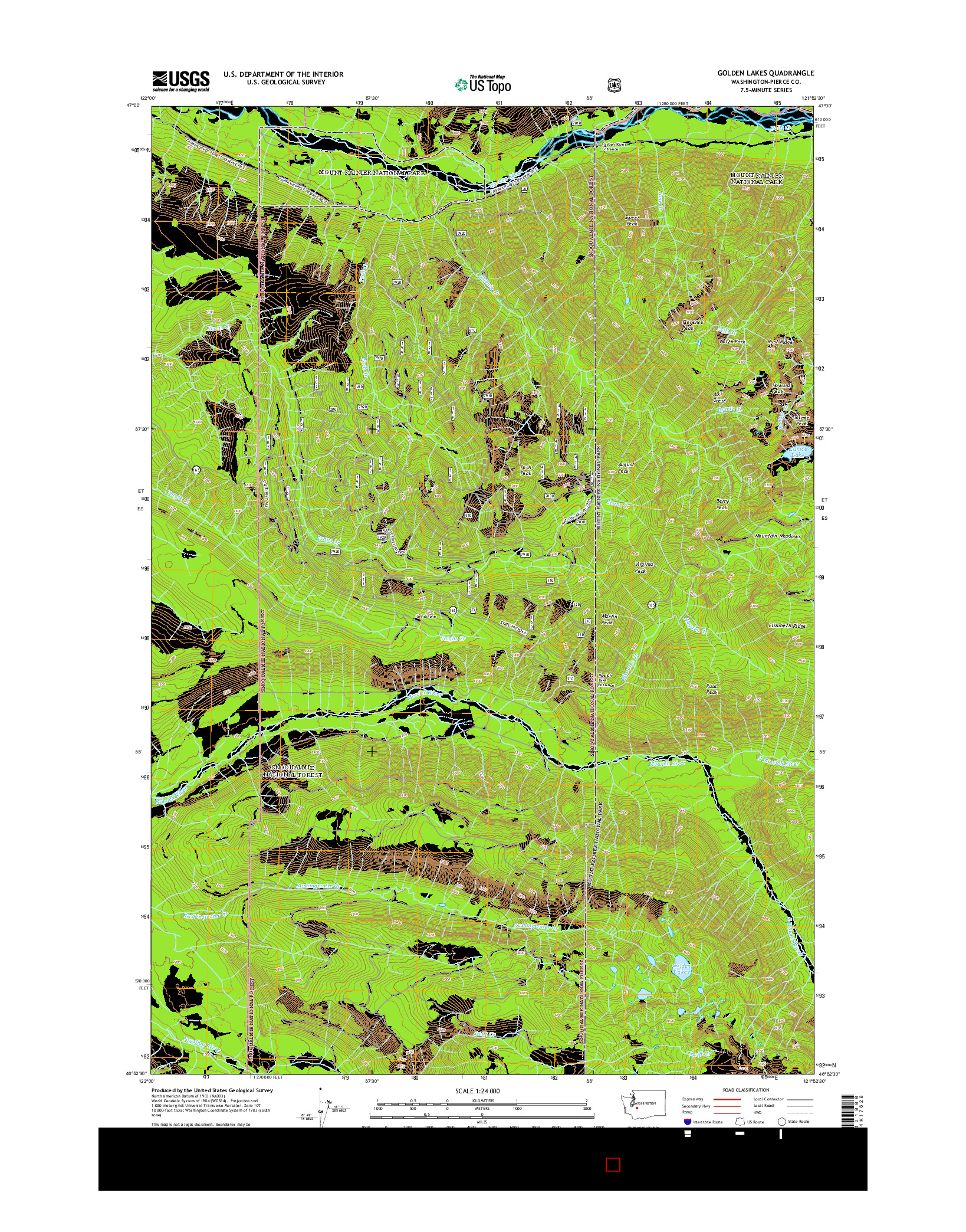 USGS US TOPO 7.5-MINUTE MAP FOR GOLDEN LAKES, WA 2014