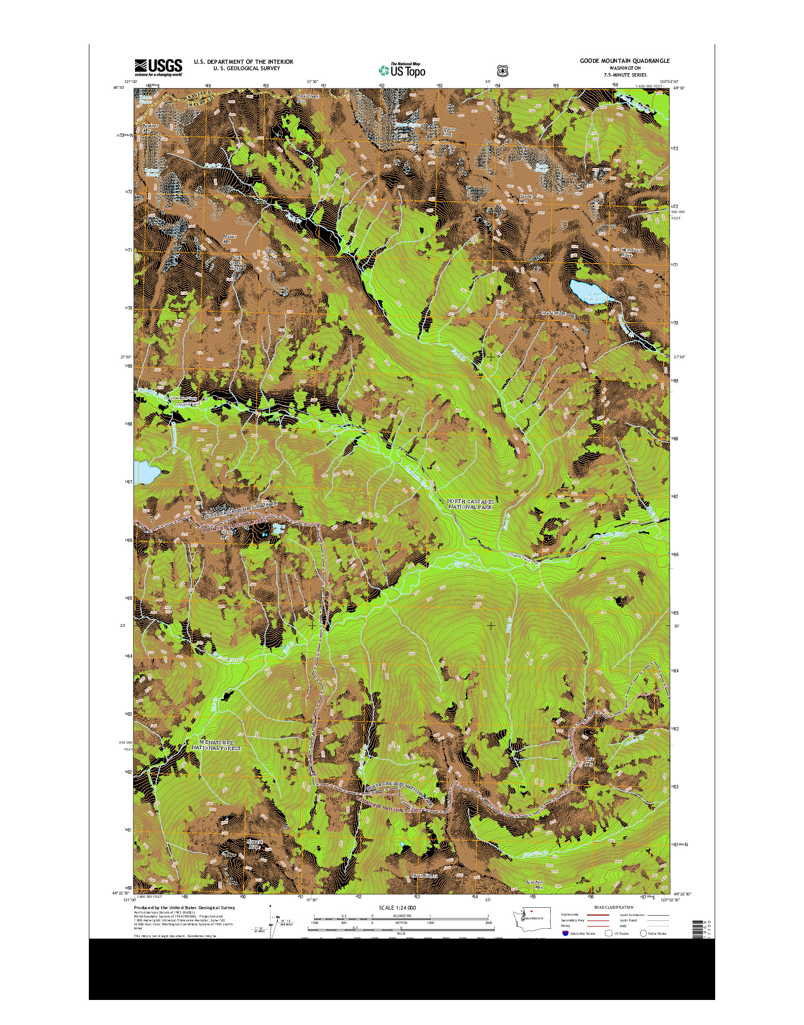 USGS US TOPO 7.5-MINUTE MAP FOR GOODE MOUNTAIN, WA 2014