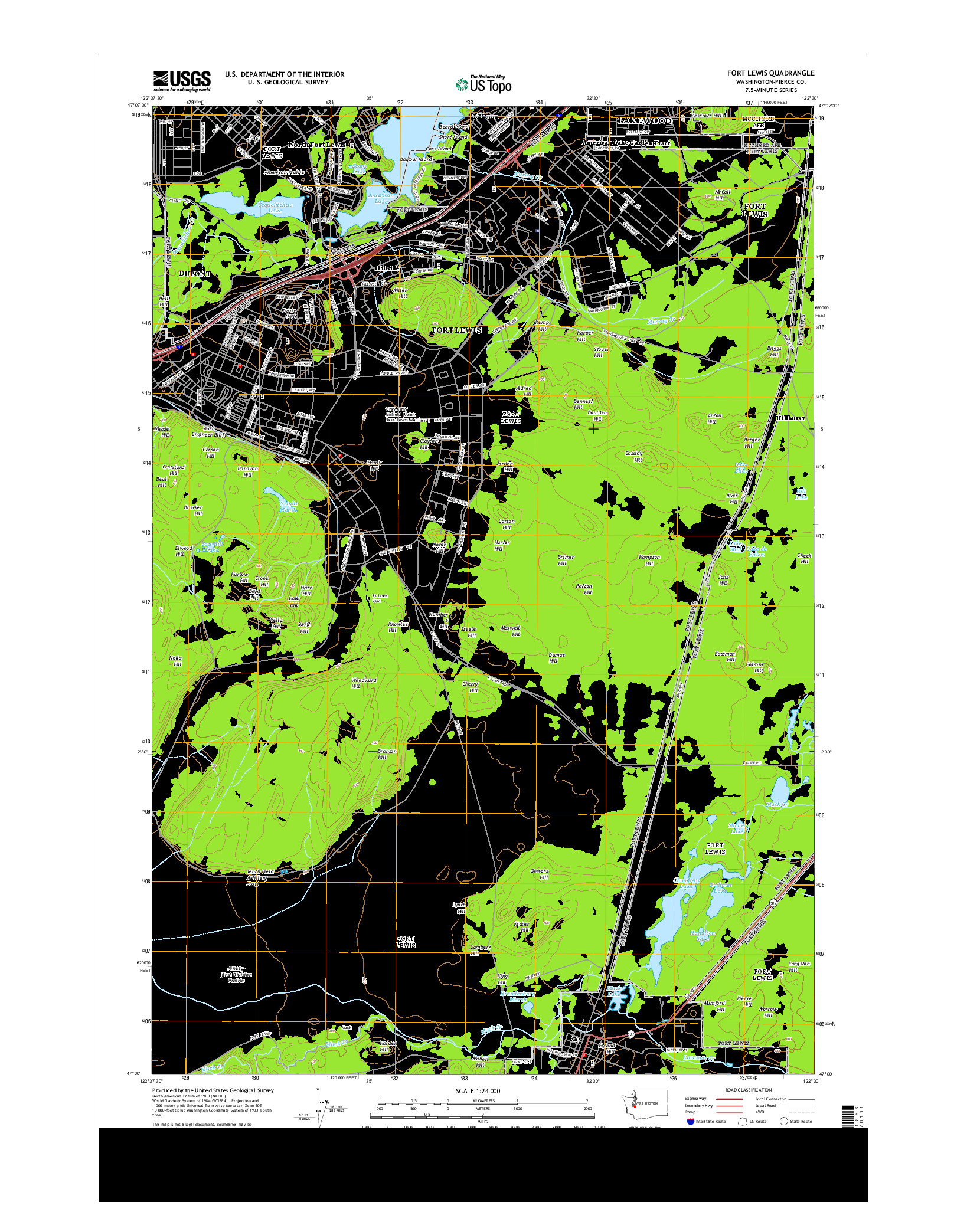 USGS US TOPO 7.5-MINUTE MAP FOR FORT LEWIS, WA 2014