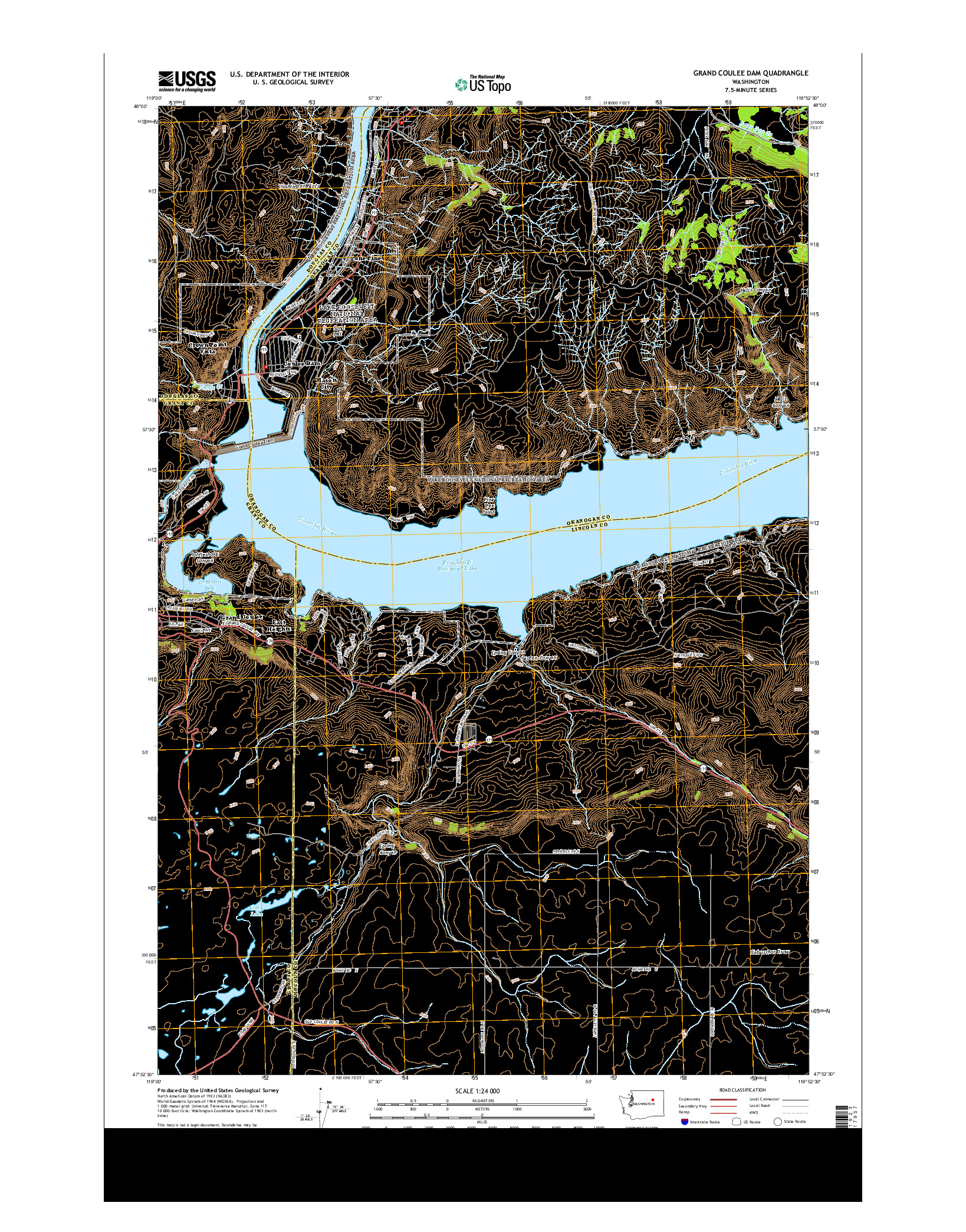 USGS US TOPO 7.5-MINUTE MAP FOR GRAND COULEE DAM, WA 2014