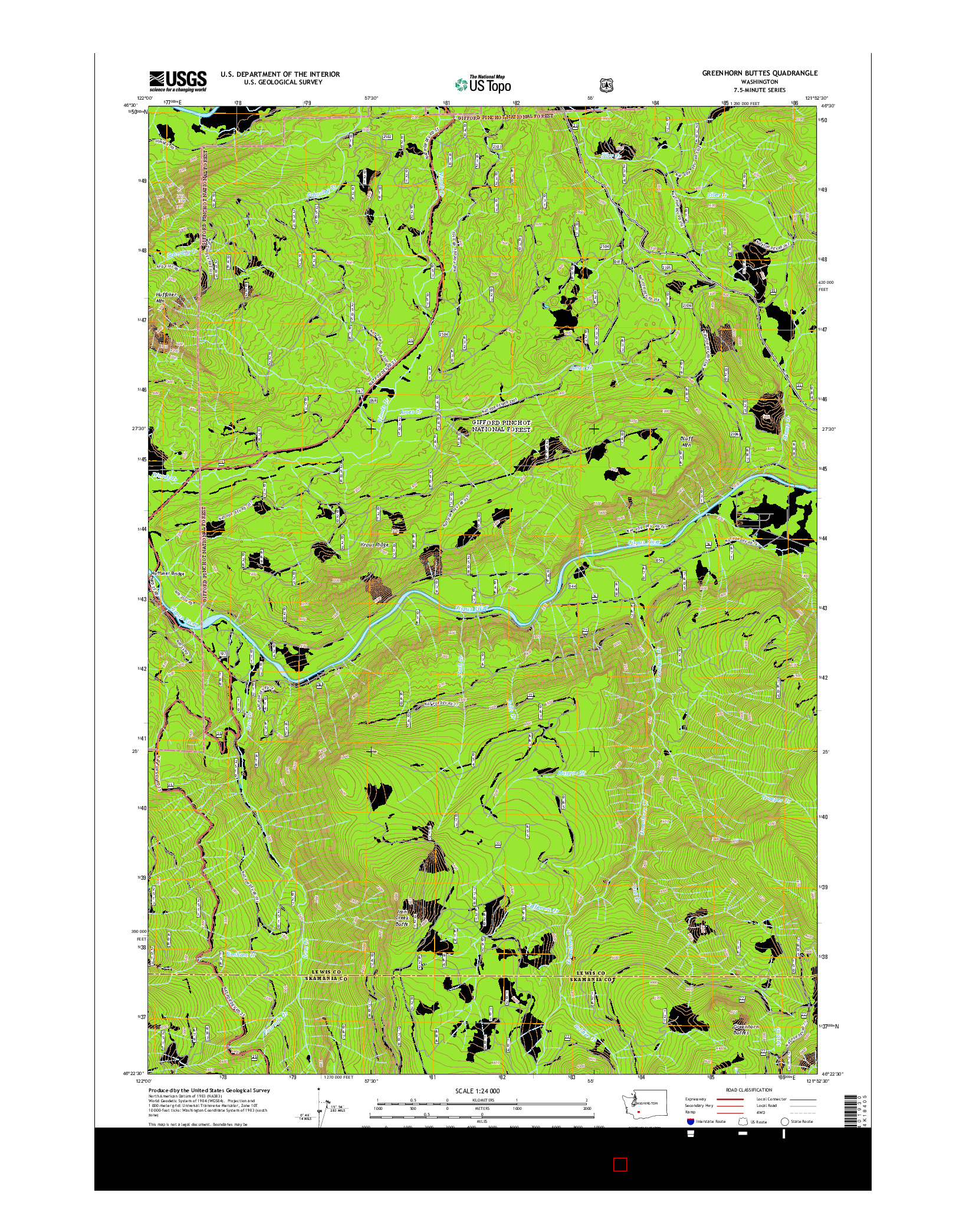 USGS US TOPO 7.5-MINUTE MAP FOR GREENHORN BUTTES, WA 2014