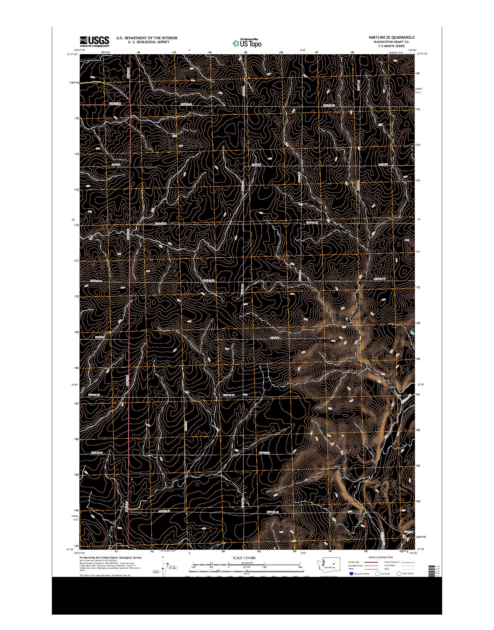 USGS US TOPO 7.5-MINUTE MAP FOR HARTLINE SE, WA 2014