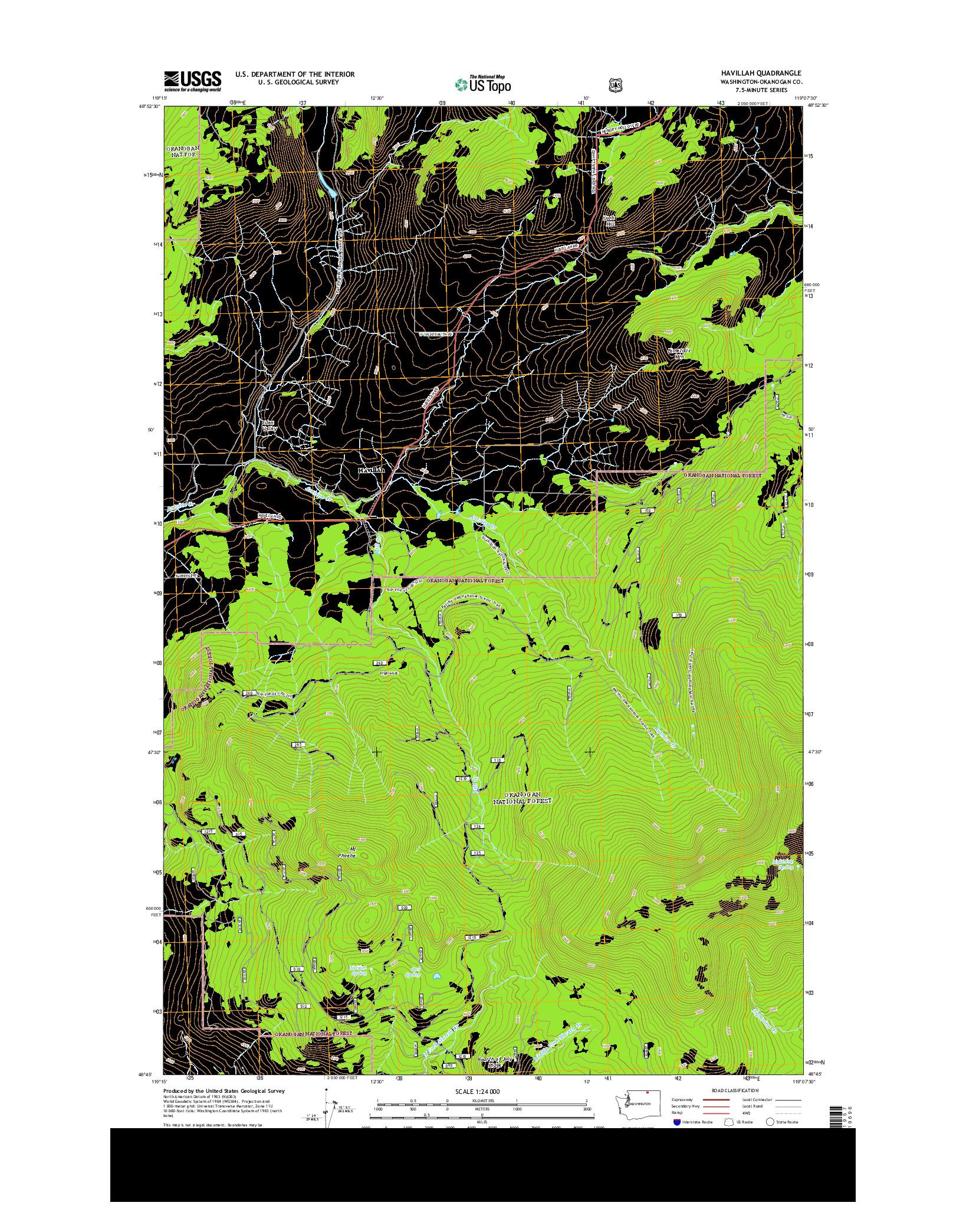 USGS US TOPO 7.5-MINUTE MAP FOR HAVILLAH, WA 2014