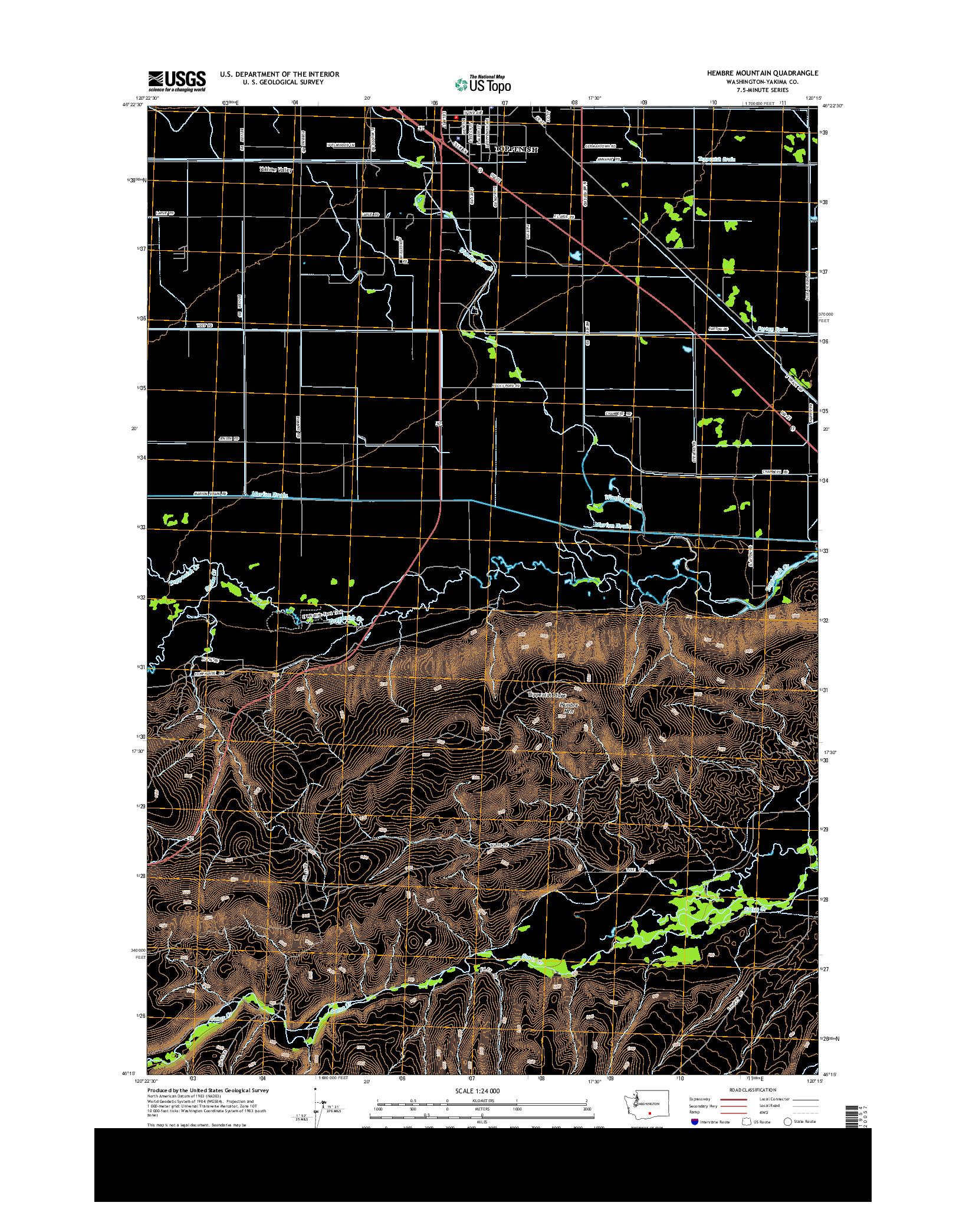 USGS US TOPO 7.5-MINUTE MAP FOR HEMBRE MOUNTAIN, WA 2014